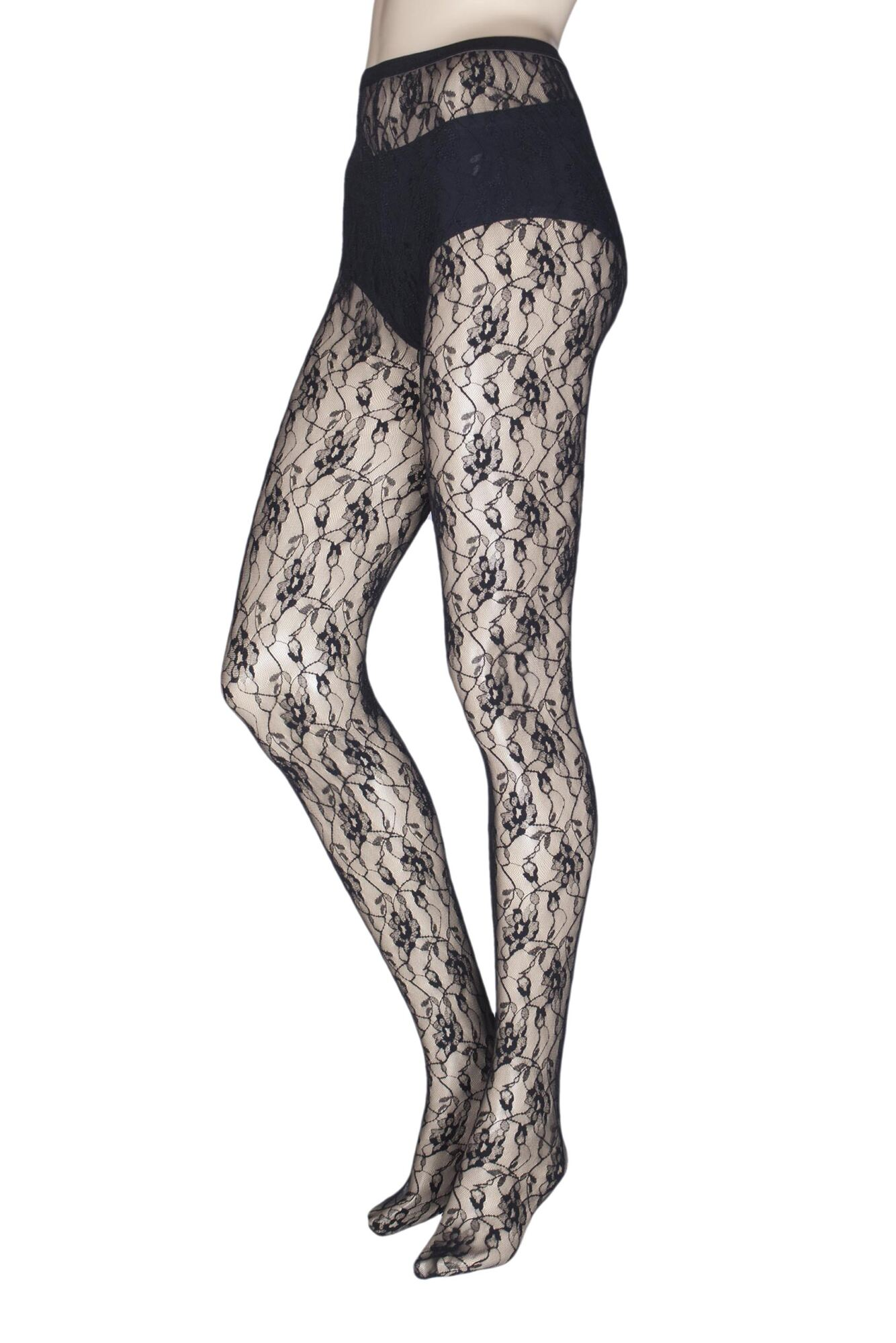 1 Pair Sweet Roses Lace Tights Ladies - Jonathan Aston