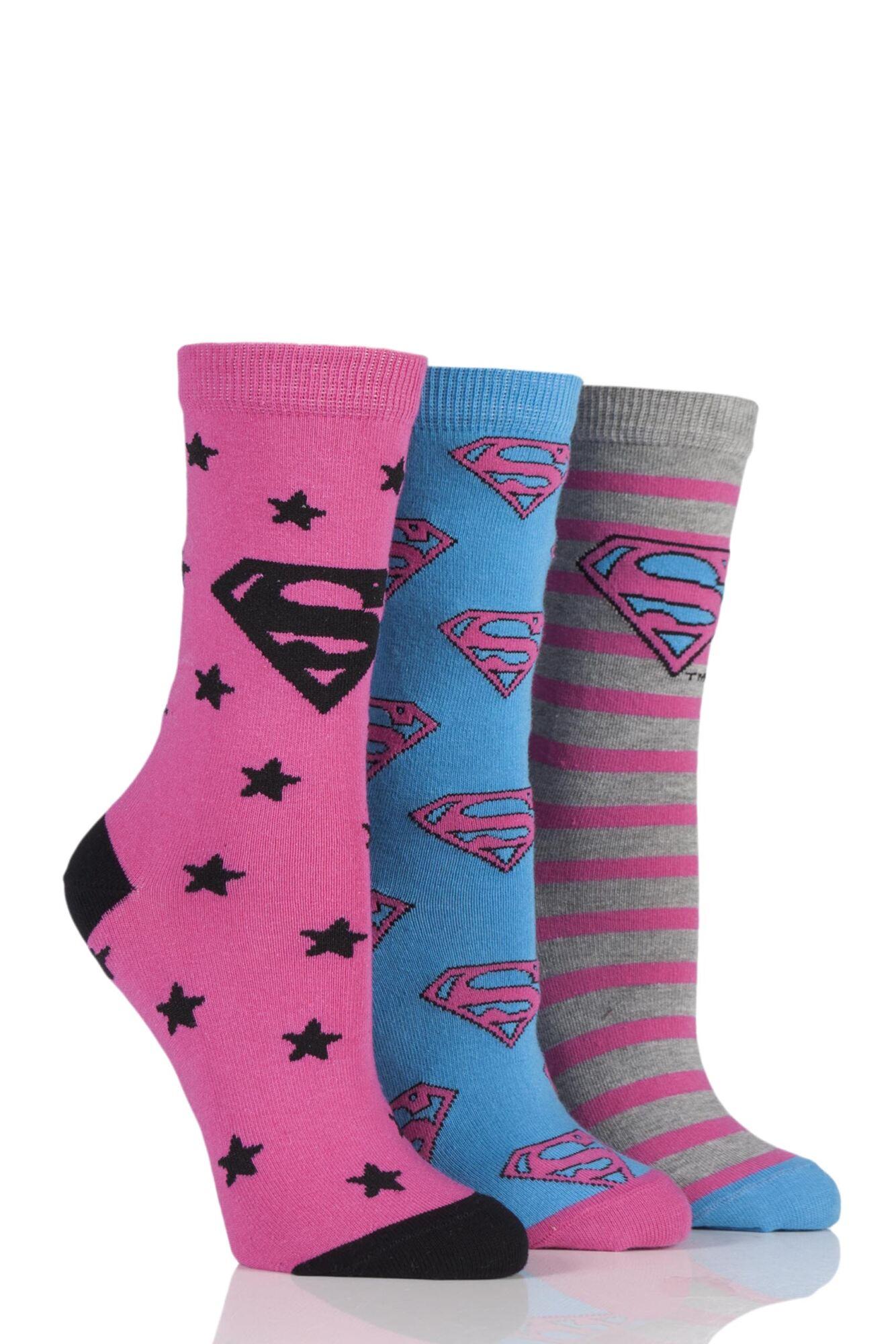 3 Pair DC Superman / Supergirl Logo Socks Ladies - Film & TV Characters