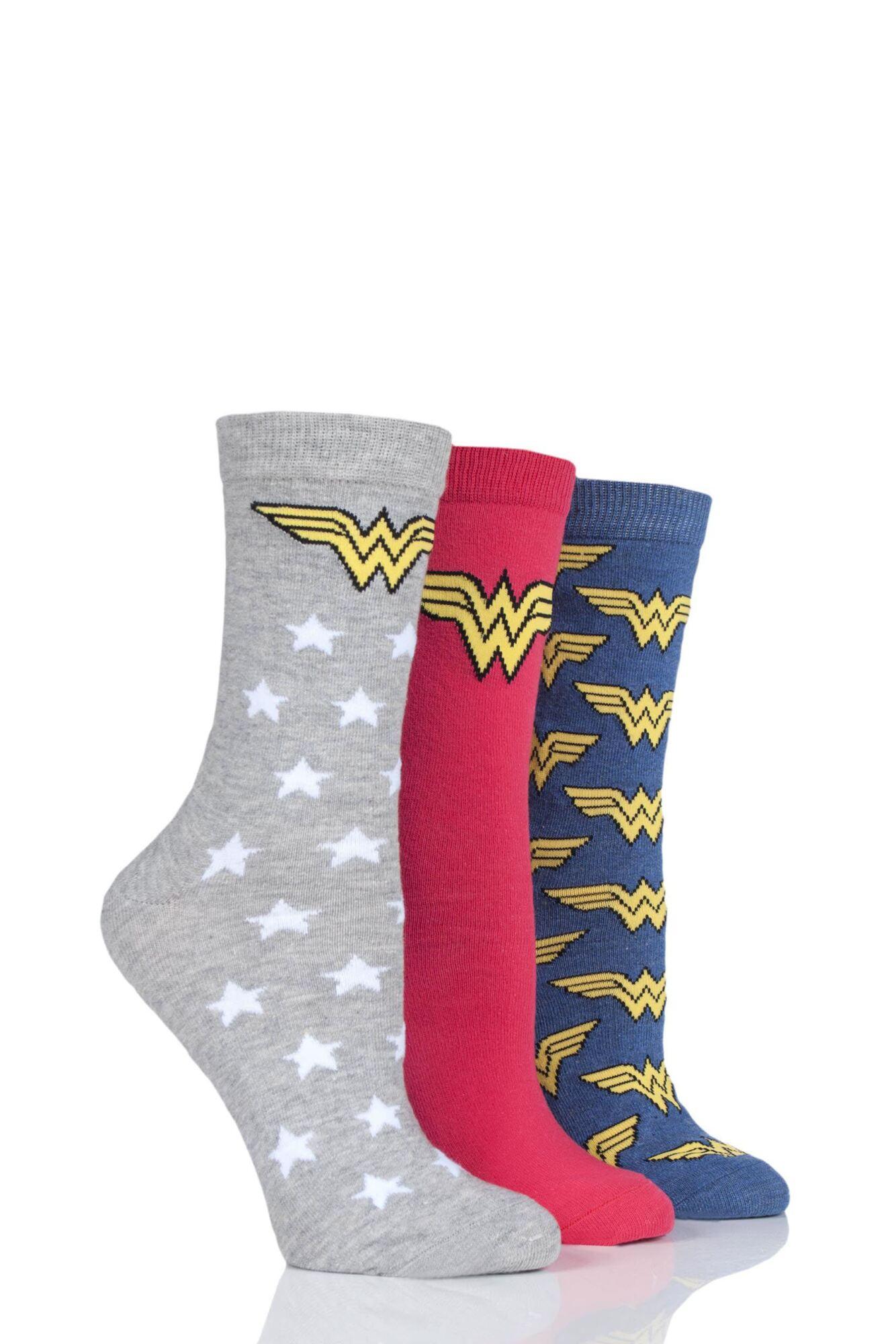 3 Pair Wonder Woman Logo Cotton Socks Ladies - Film & TV Characters