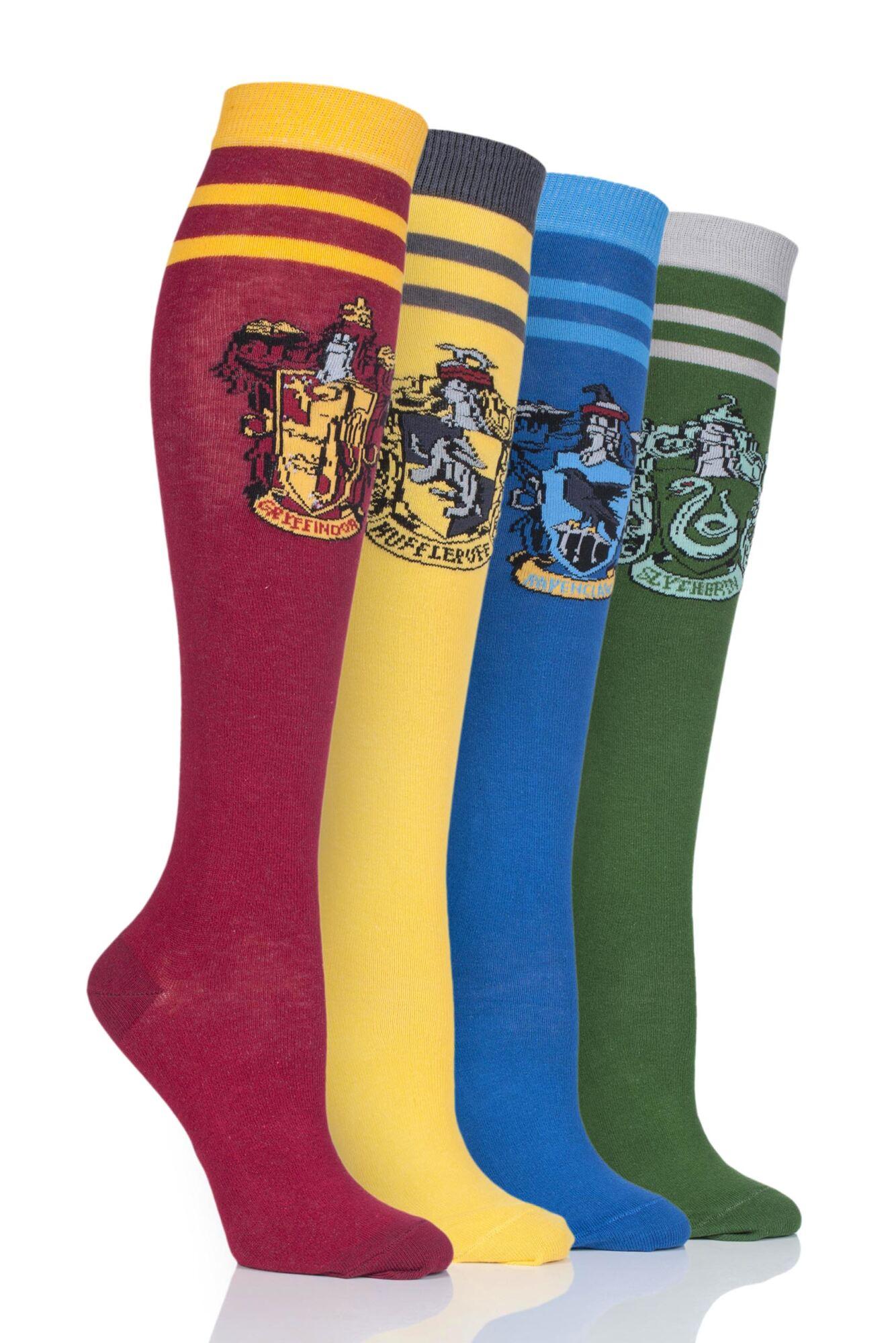 4 Pair Harry Potter House Badges Cotton Knee High Socks Ladies - Film & TV Characters