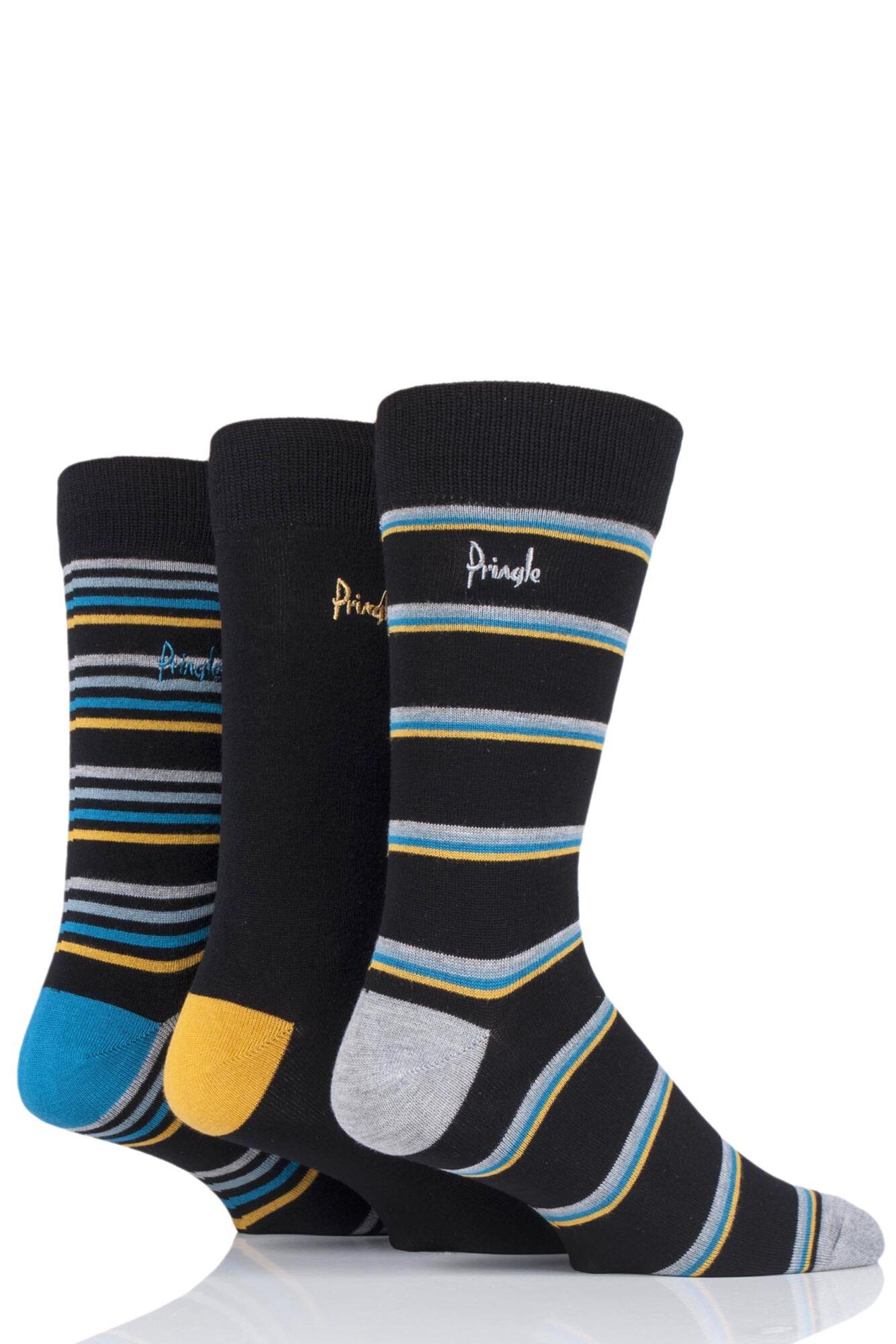 3 Pair Lucas Striped Bamboo Socks Men's - Pringle