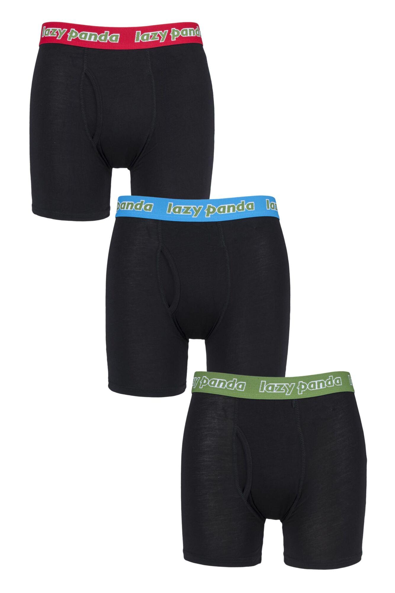 3 Pack Bamboo Boxer Shorts Men's - Lazy Panda