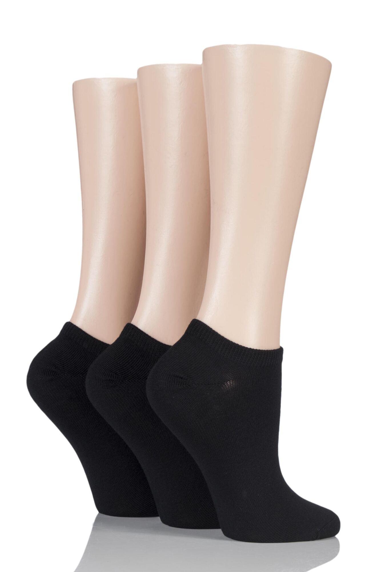 3 Pair Bamboo Trainer Socks with Smooth Toe Seams Ladies - SOCKSHOP