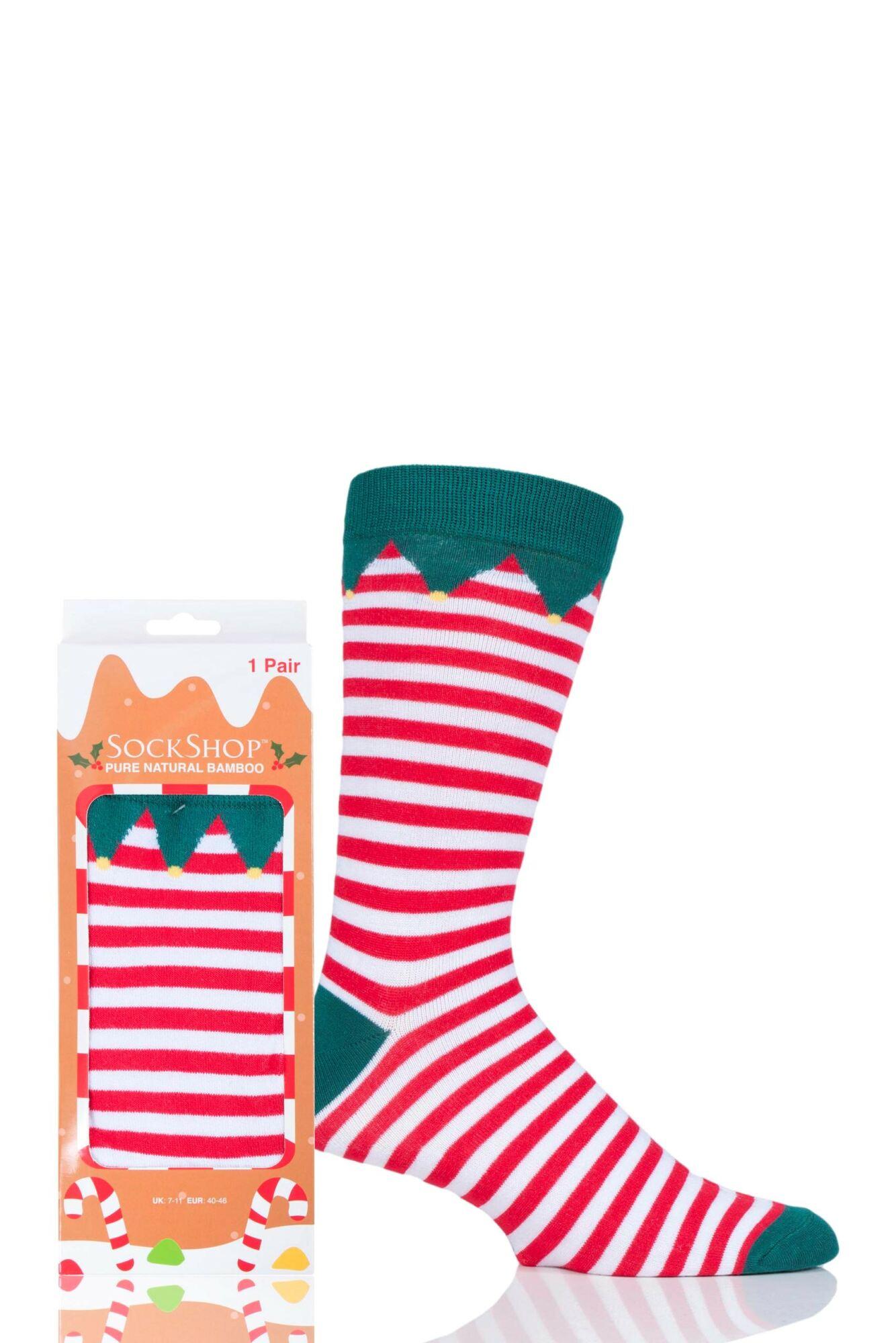 1 Pair Bamboo Santa's Elf Christmas Gift Boxed Socks Unisex - Lazy Panda