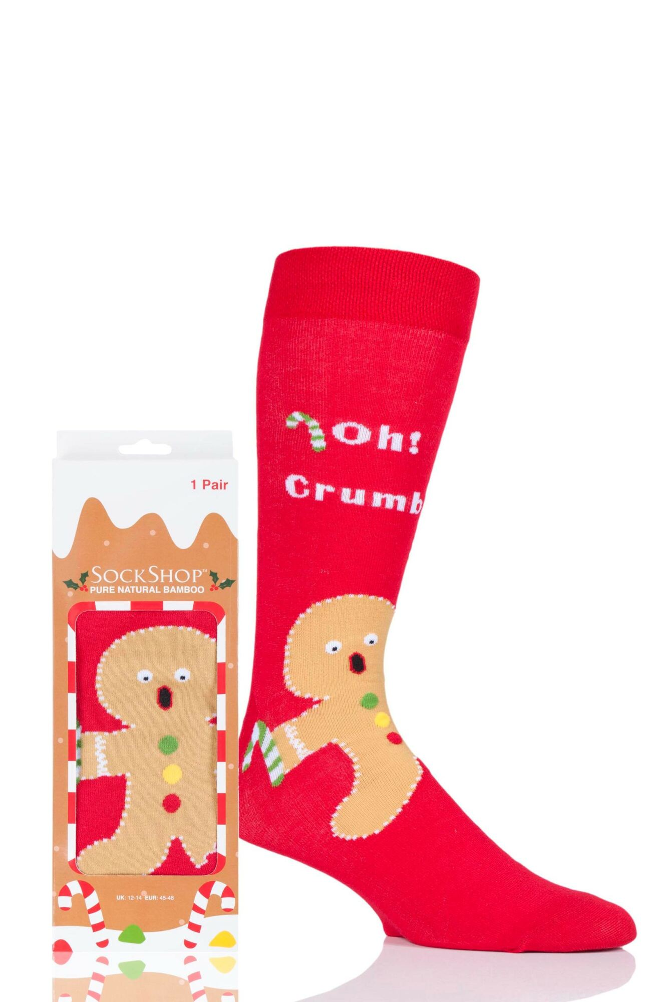 1 Pair Bamboo Gingerbread Man Christmas Gift Boxed Socks Unisex - Lazy Panda
