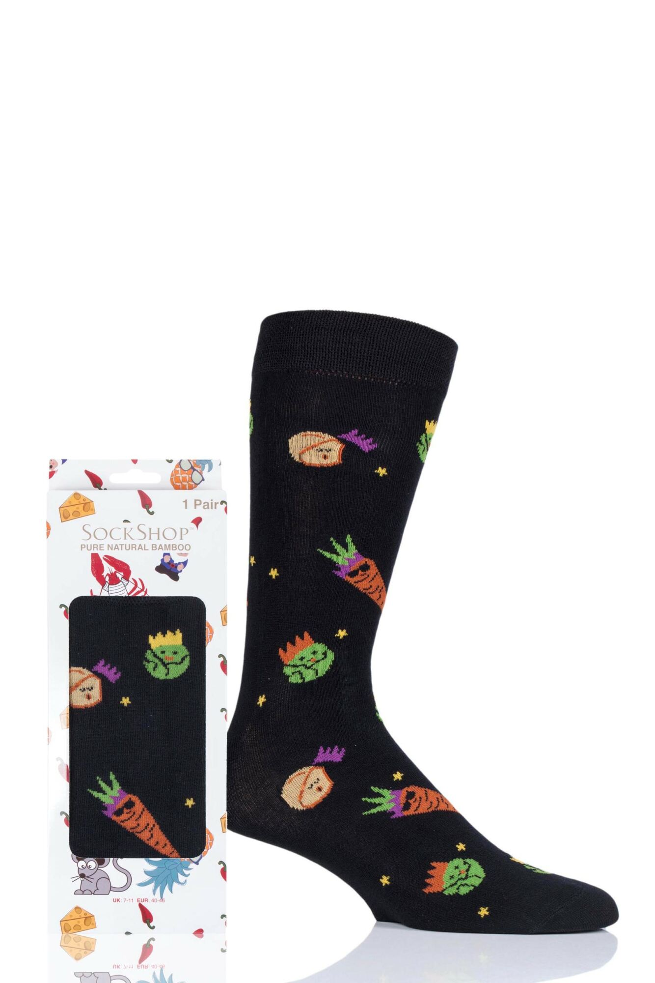 1 Pair Bamboo Party Veg Gift Boxed Socks Unisex - Lazy Panda