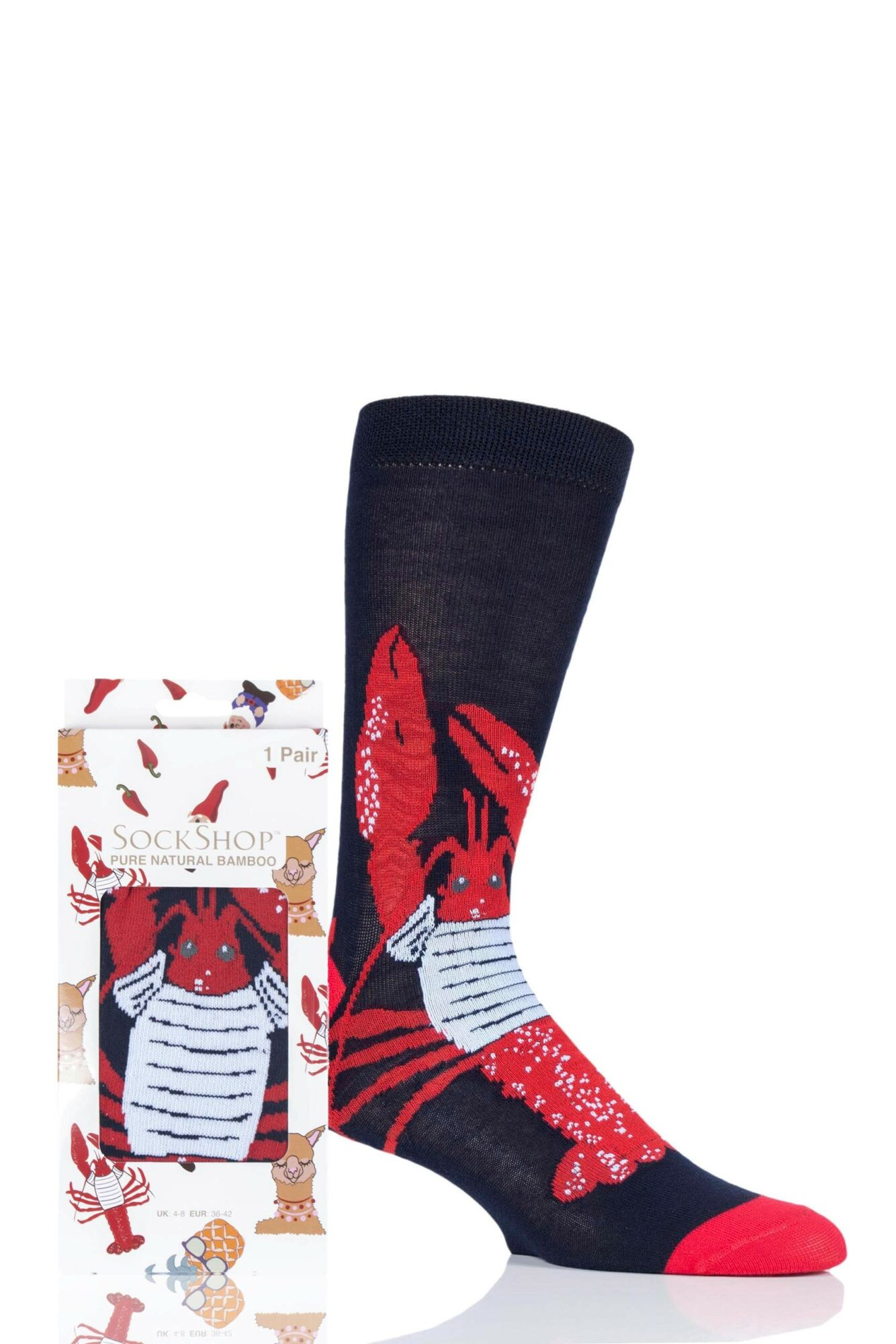 1 Pair Bamboo Lobster Gift Boxed Socks Unisex - Lazy Panda