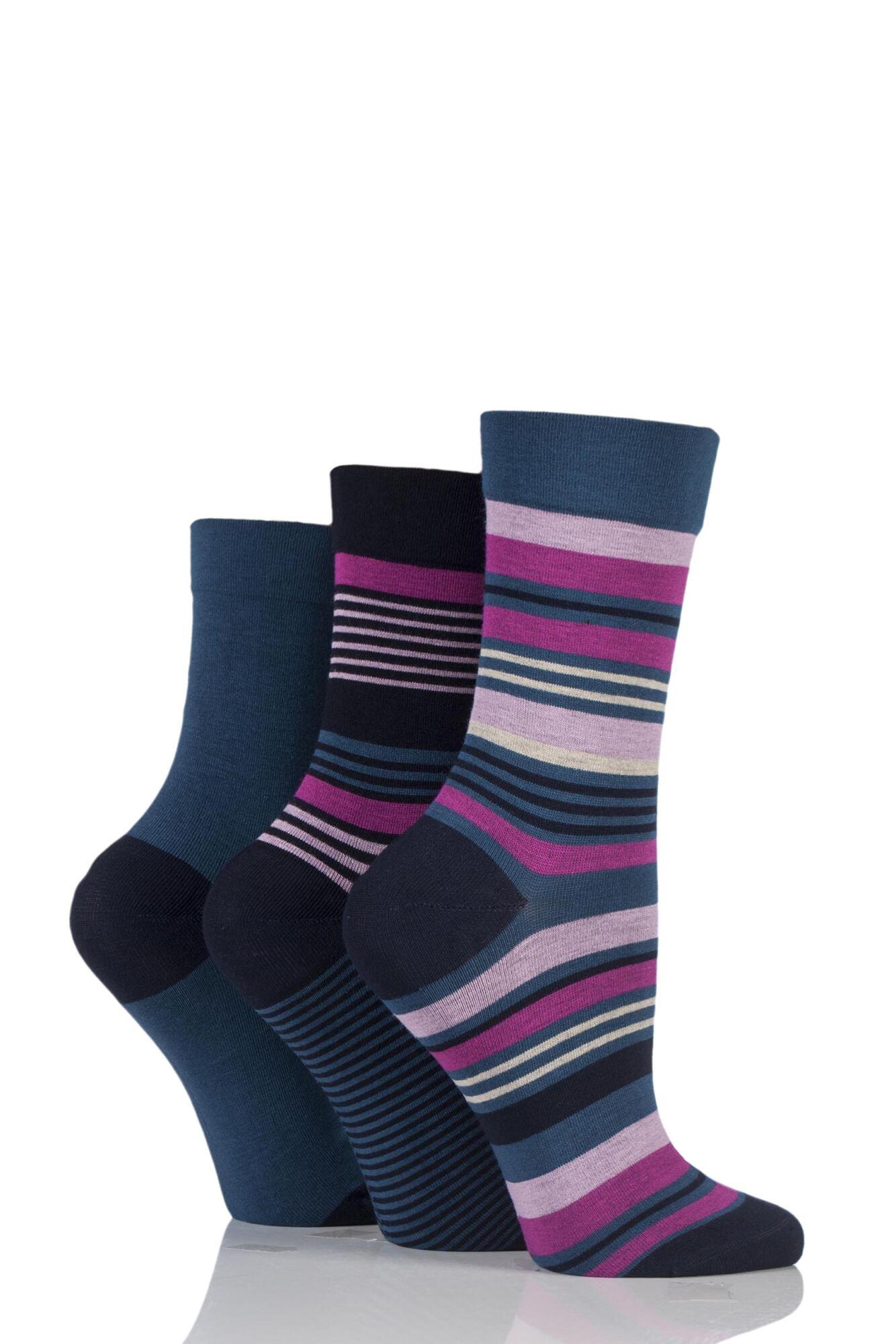 3 Pair Gentle Bamboo Socks with Smooth Toe Seams in Plains and Stripes Ladies - SOCKSHOP