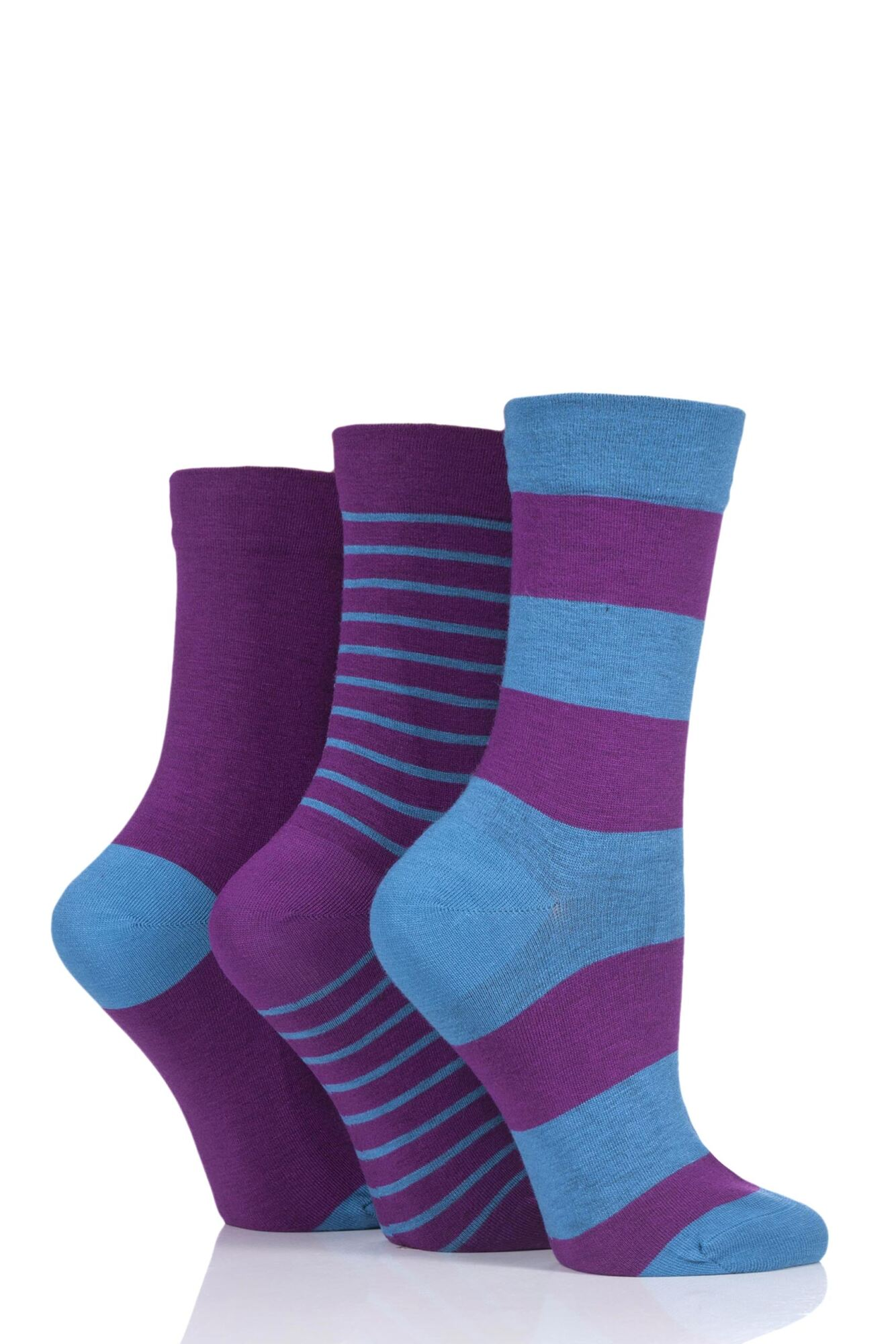 3 Pair Gentle Bamboo Socks with Smooth Toe Seams in Plains and Stripes Ladies - SOCKSHOP
