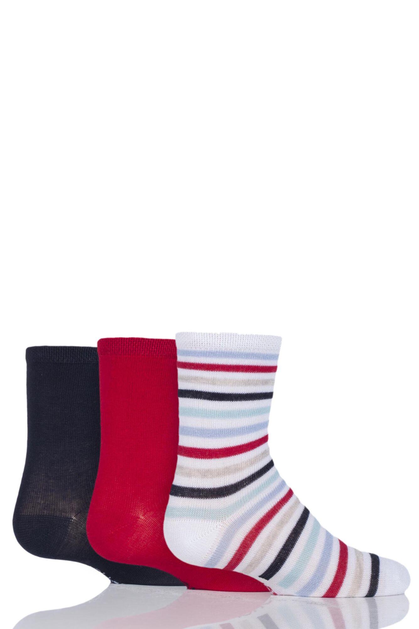 3 Pair Plain and Stripe Bamboo Socks with Smooth Toe Seams Kids Unisex - SOCKSHOP