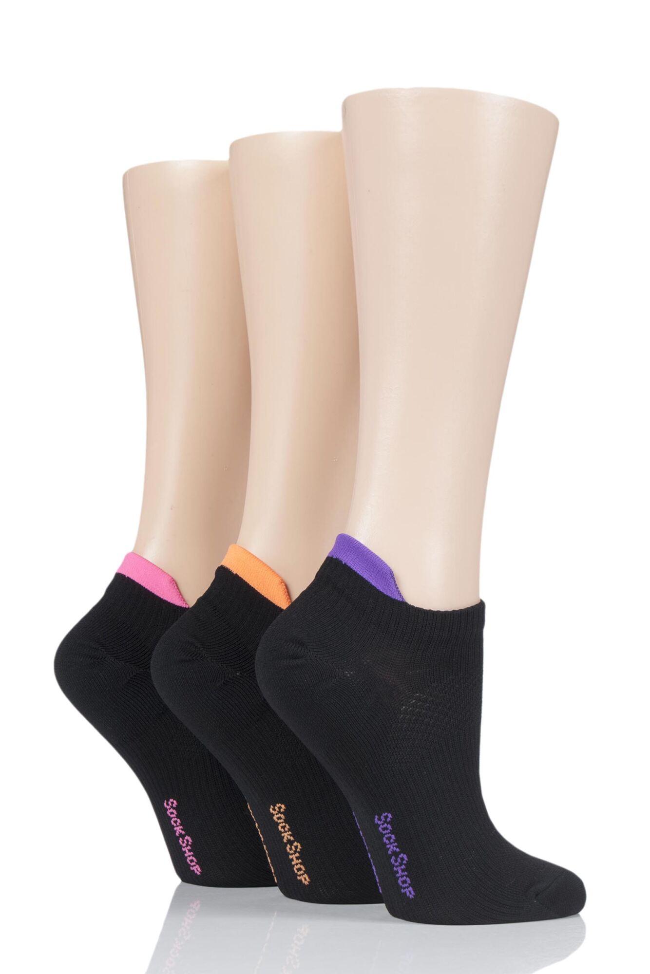 3 Pair Poly Sports No Show Socks Ladies - SOCKSHOP