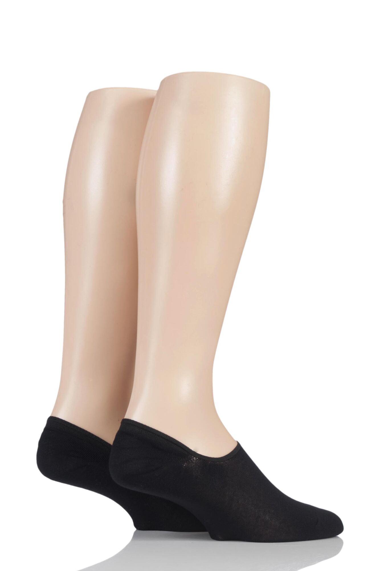 2 Pair Plain Bamboo Shoe Liner Socks Men's - SOCKSHOP