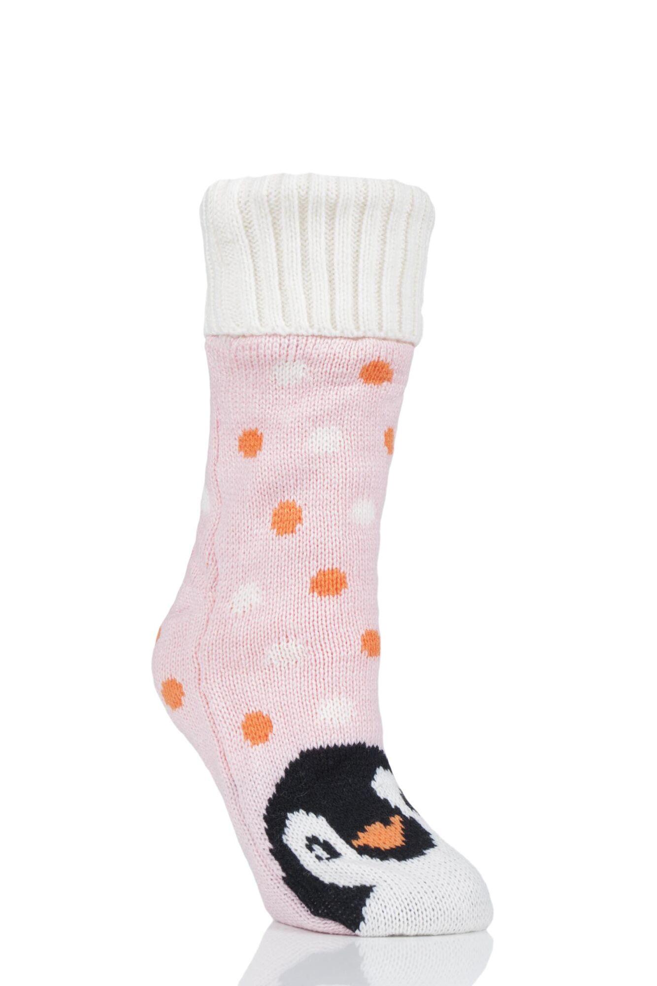 1 Pair Penguin Fleece Lined Slipper Socks Ladies - Wild Feet