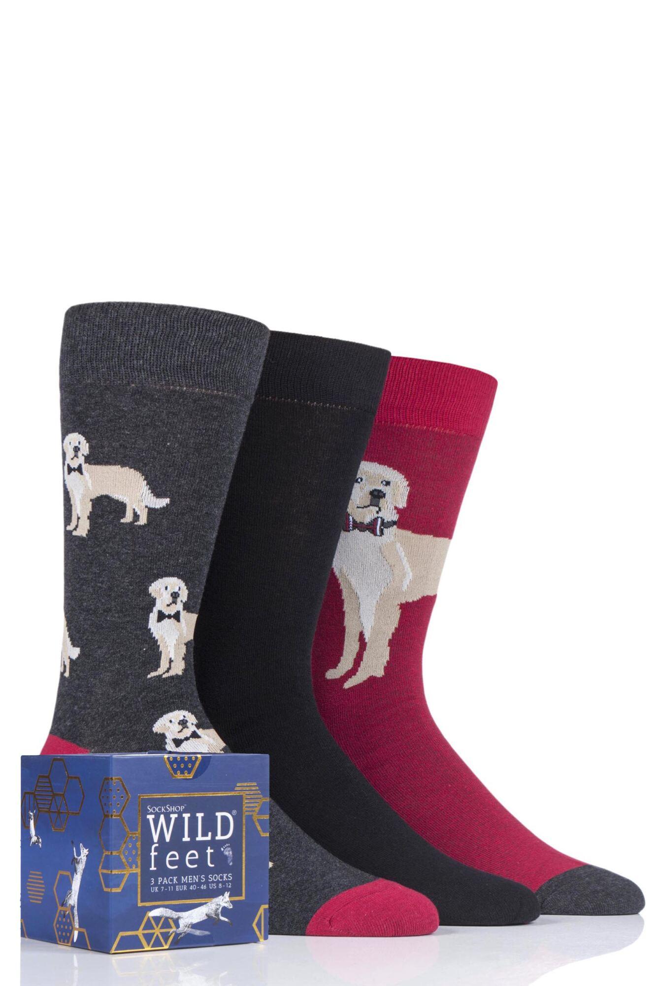 3 Pair Gift Boxed Novelty Cotton Socks Men's - Wild Feet