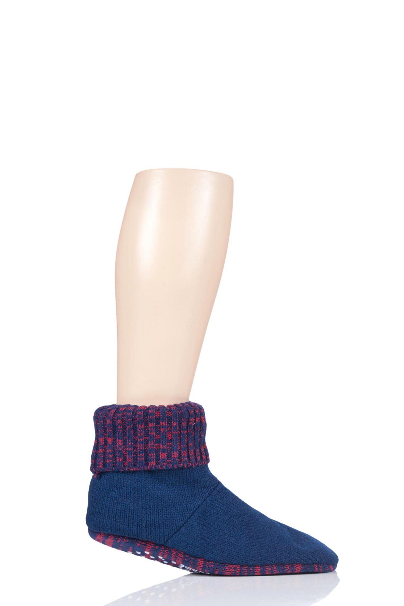Mens 1 Pair SockShop Wild Feet Knitted Bootie Slippers