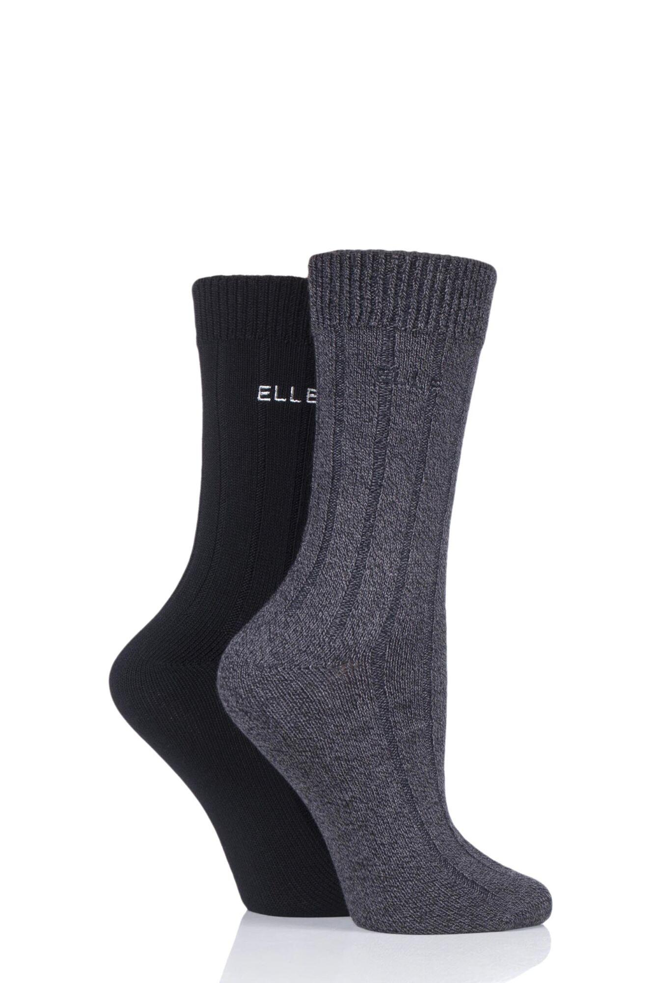 2 Pair Ribbed Bamboo Boot Socks Ladies - Elle