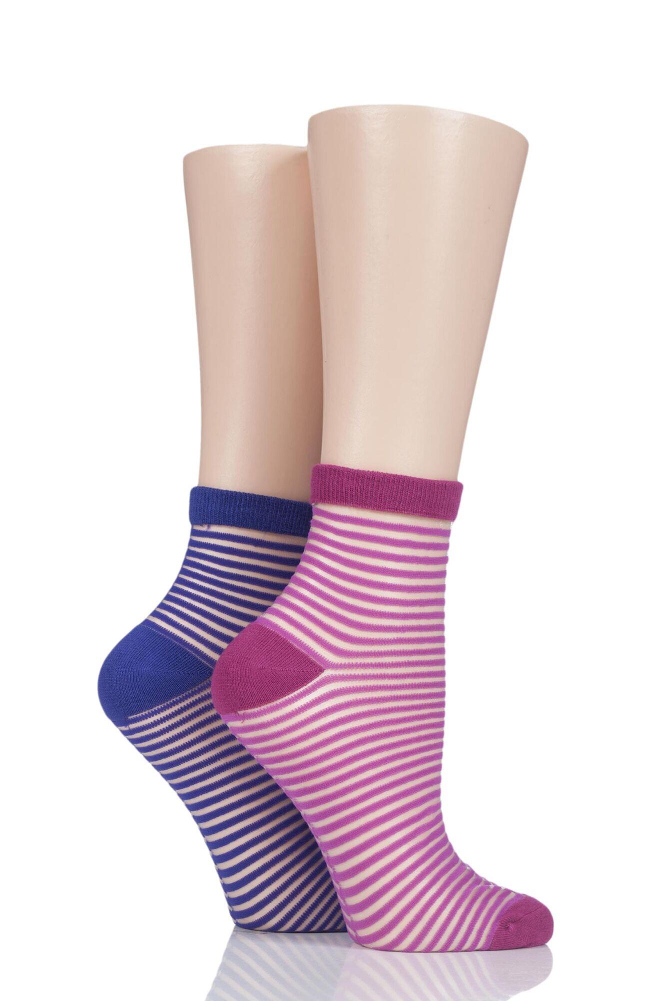 2 Pair Sheer Stripe Bamboo Anklet Socks Ladies - Elle