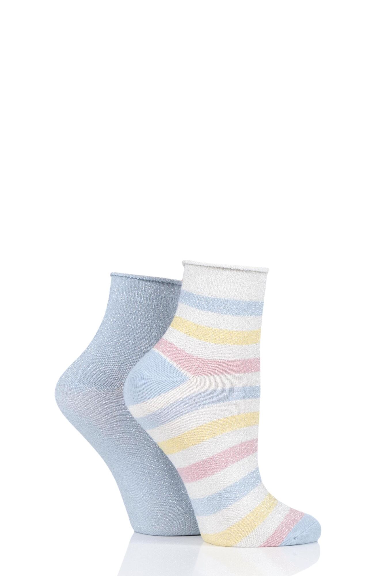 2 Pair Ombre Lurex Stripe Roll Top Anklet Socks Ladies - Elle