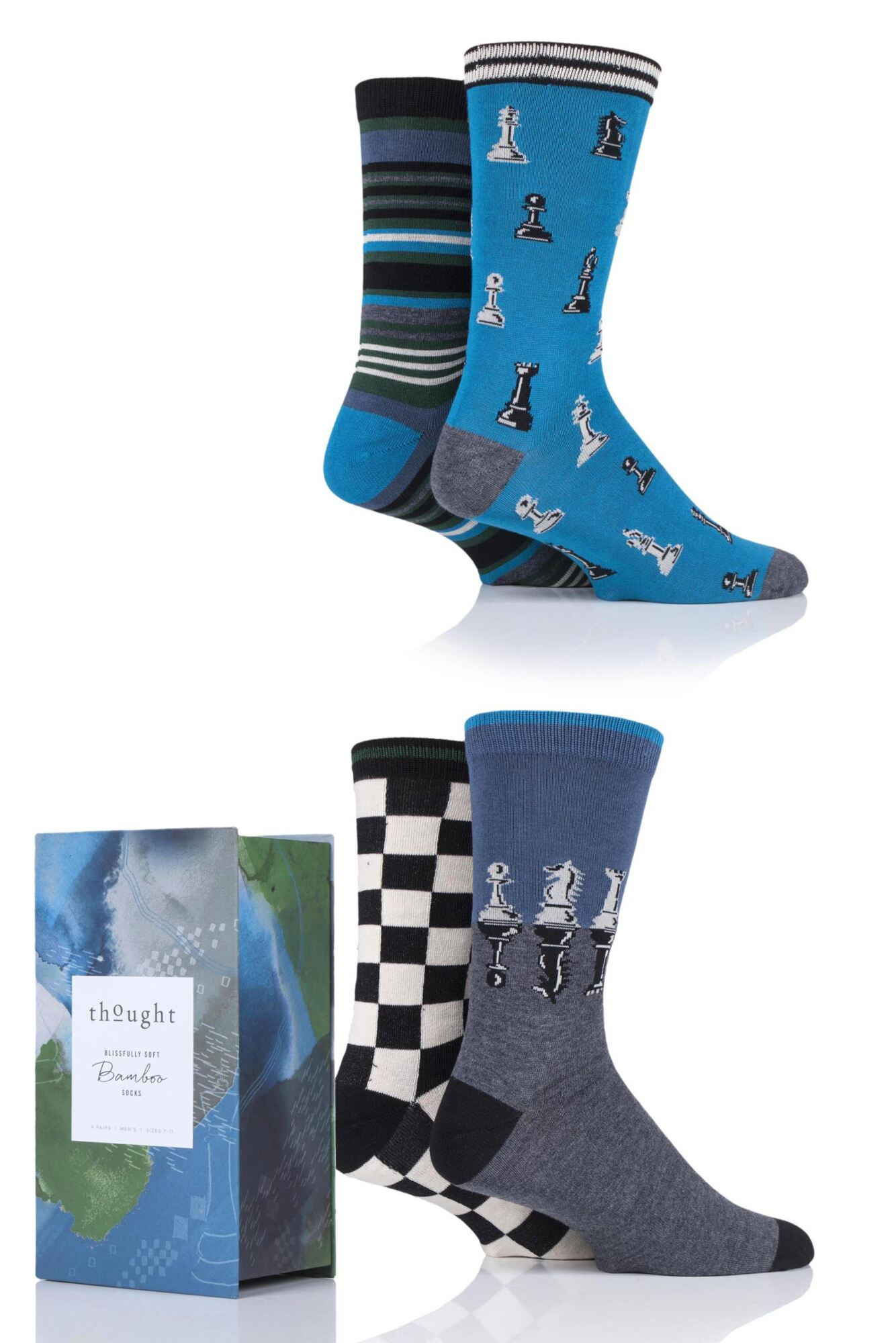 Mens 4 Pair Thought Chess Bamboo and Organic Cotton Gift Boxed Socks