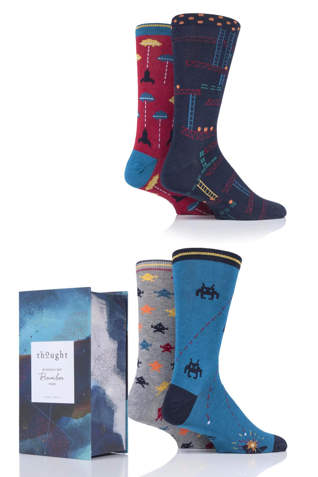 4 Pair Arcade Games Bamboo and Organic Cotton Gift Boxed Socks Men's - Thought