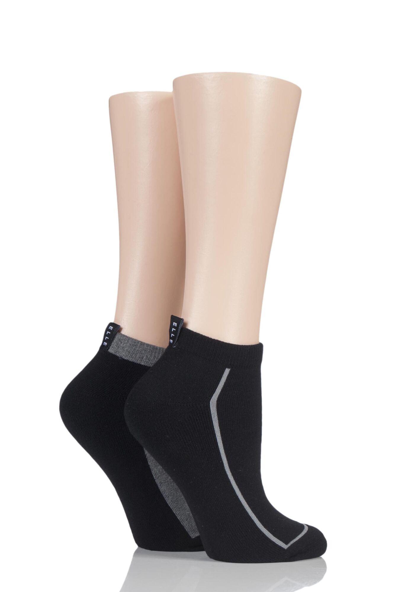 2 Pair Cushion Foot Trainer Socks With Liner Tag Ladies - Elle