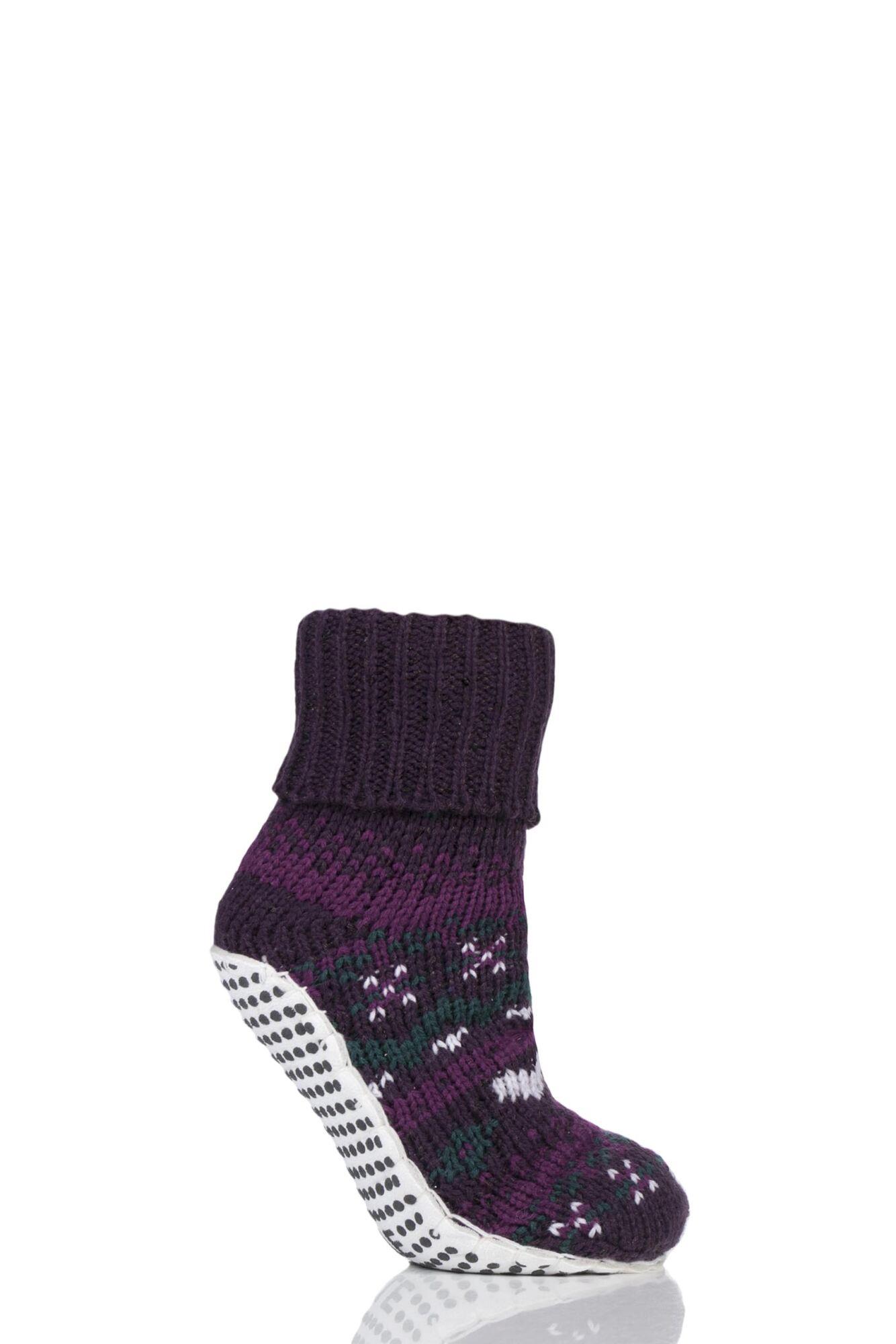 1 Pair Chunky Fair Isle Moccasin Grip Socks Ladies - Elle