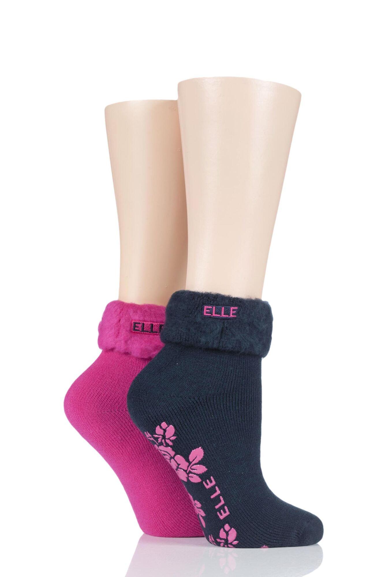 2 Pair Thermal Bed and Slipper Socks Ladies - Elle