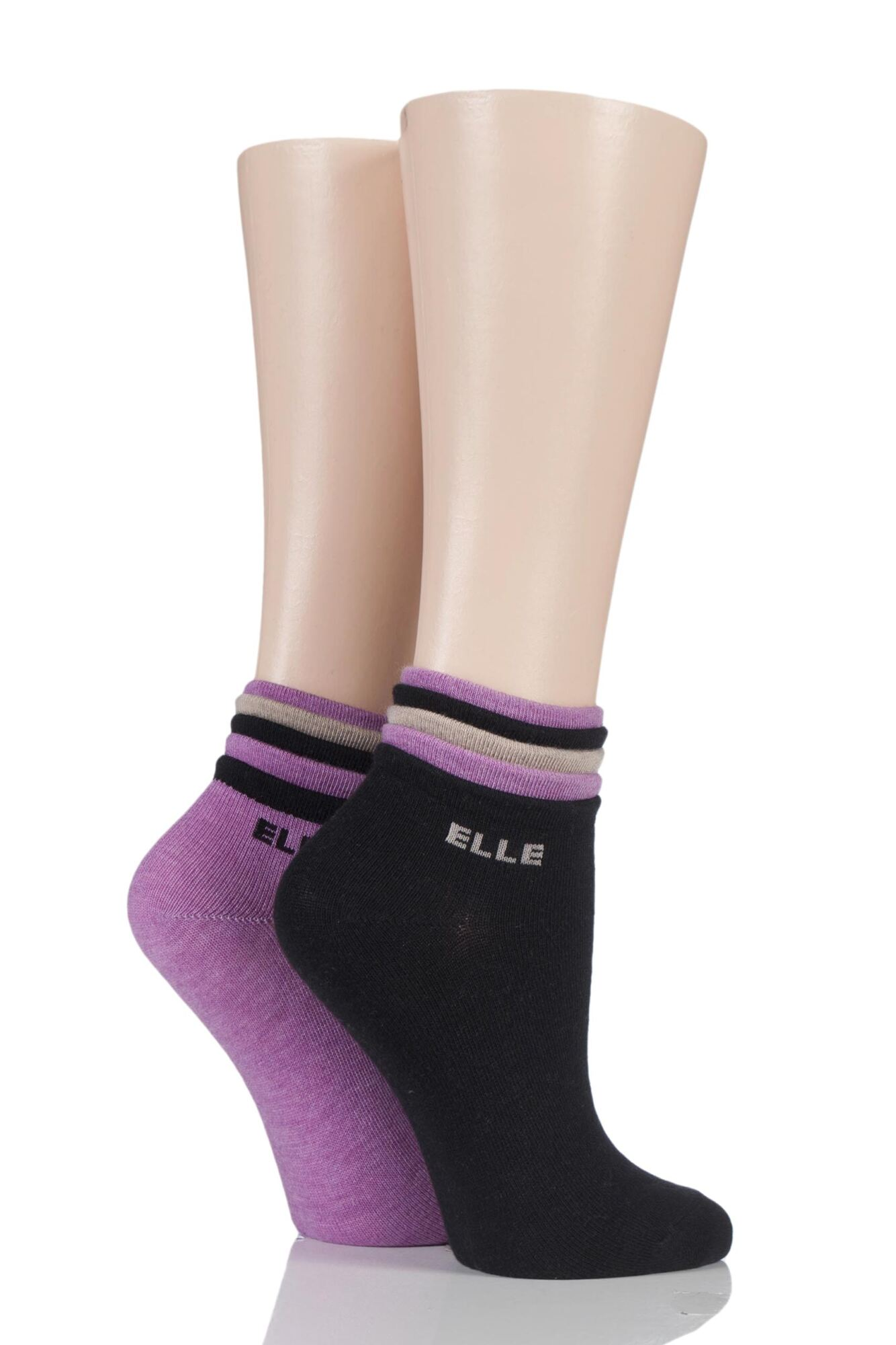 2 Pair Frilly Welt Cashmere Blend Ankle Socks Ladies - Elle