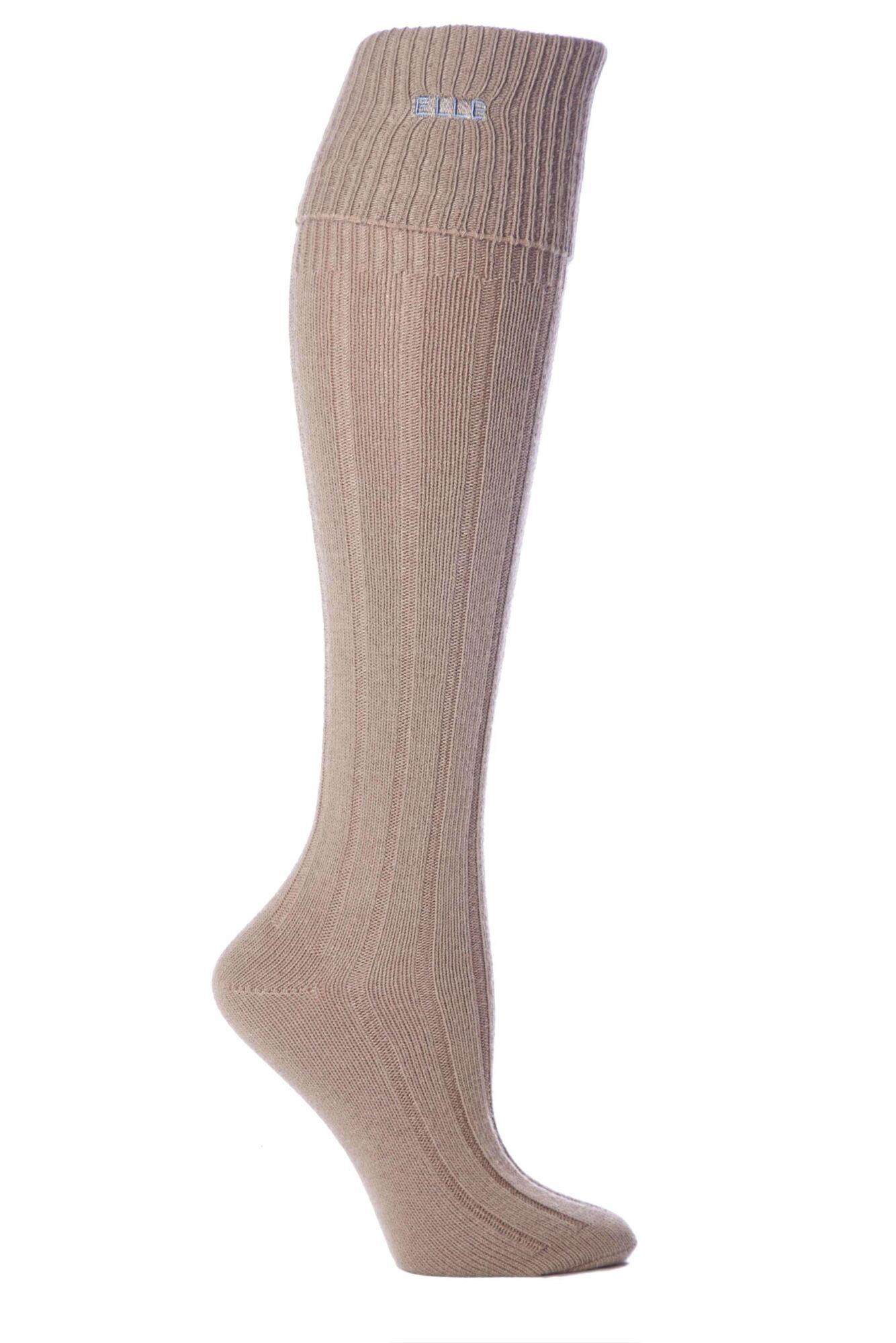1 Pair Wool Ribbed Knee High Socks with Cuff Ladies - Elle