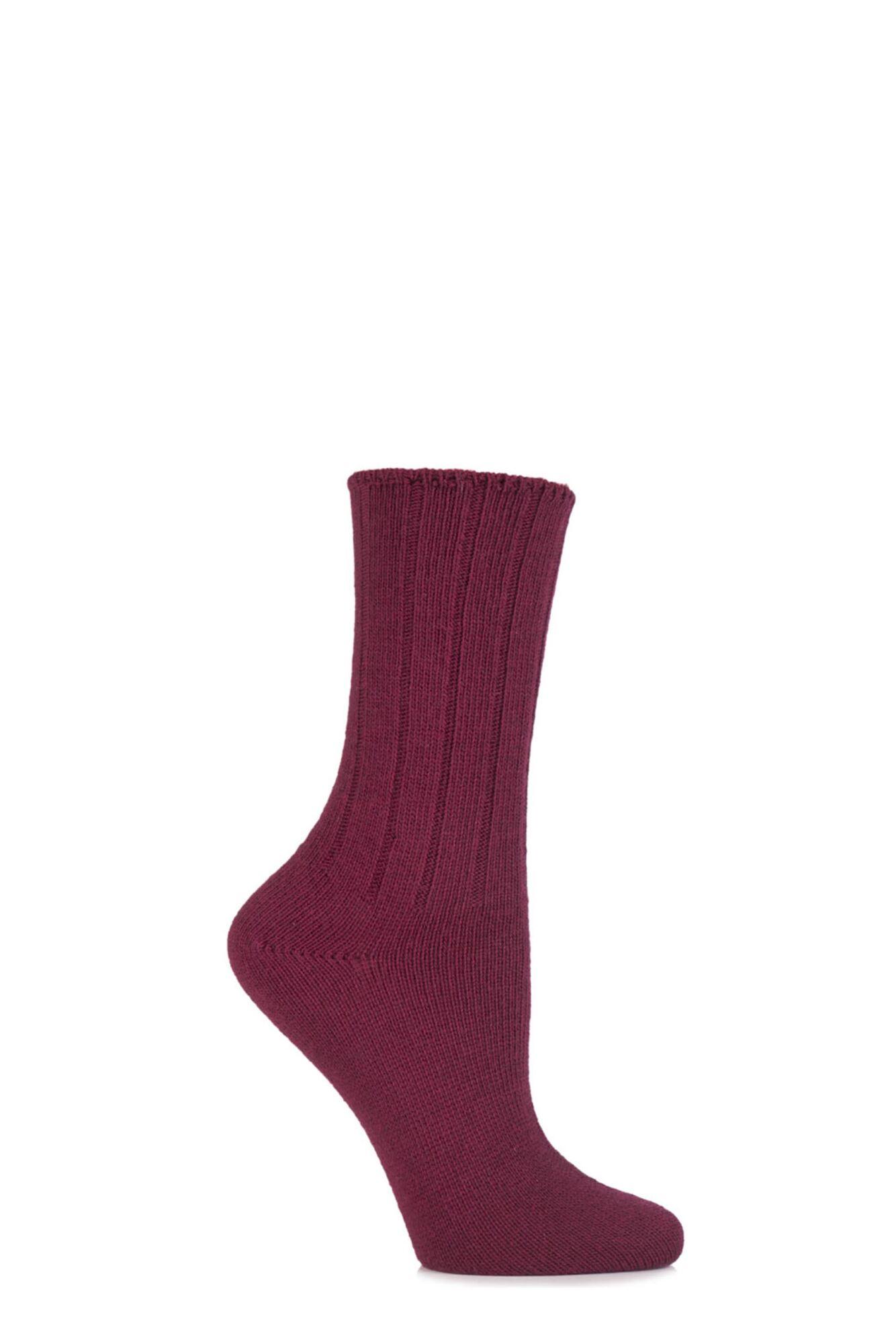 1 Pair Wool and Viscose Ribbed Bed Socks Ladies - Elle