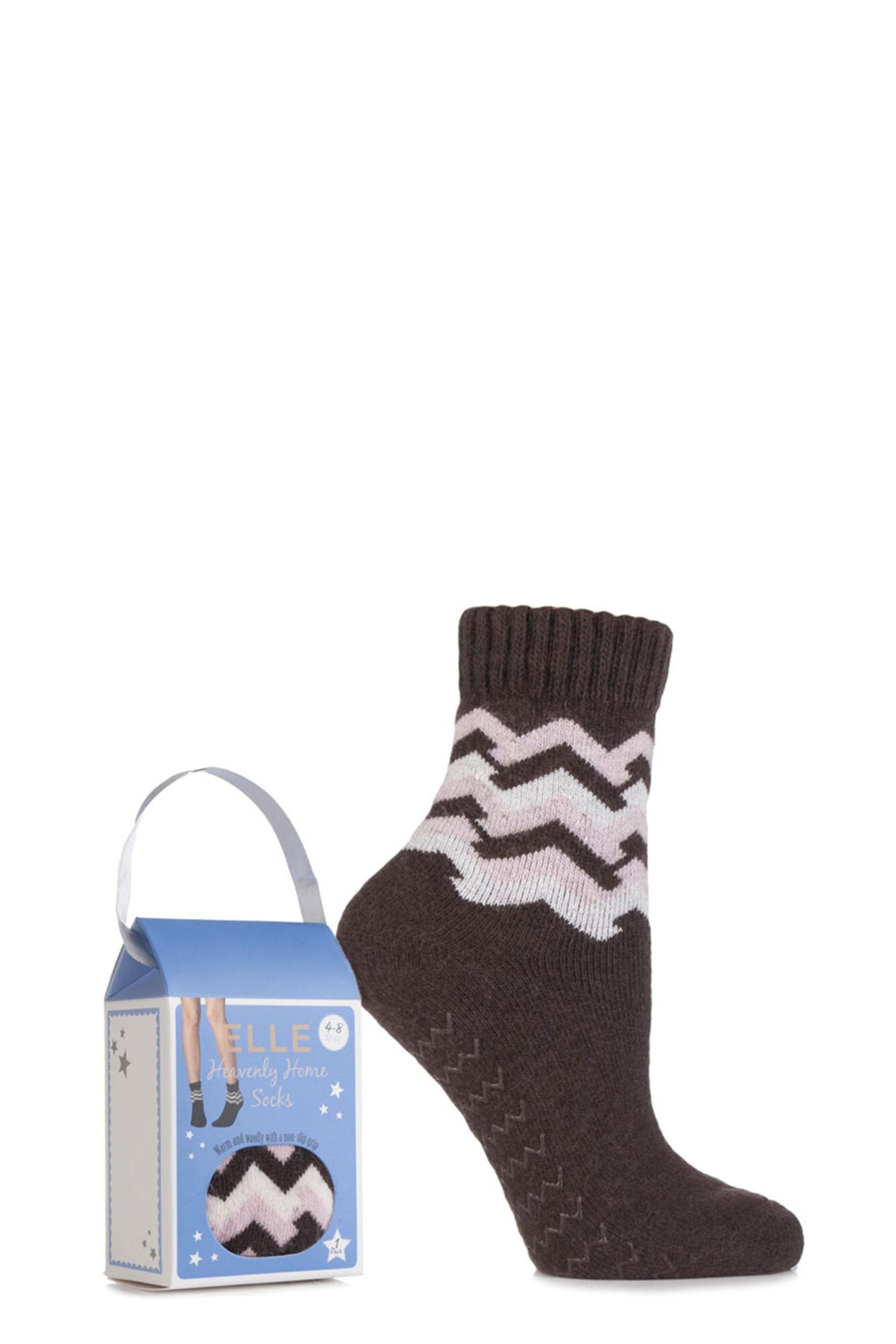 1 Pair Gift Boxed Wool Blend Zig Zag Slipper Socks Ladies - Elle