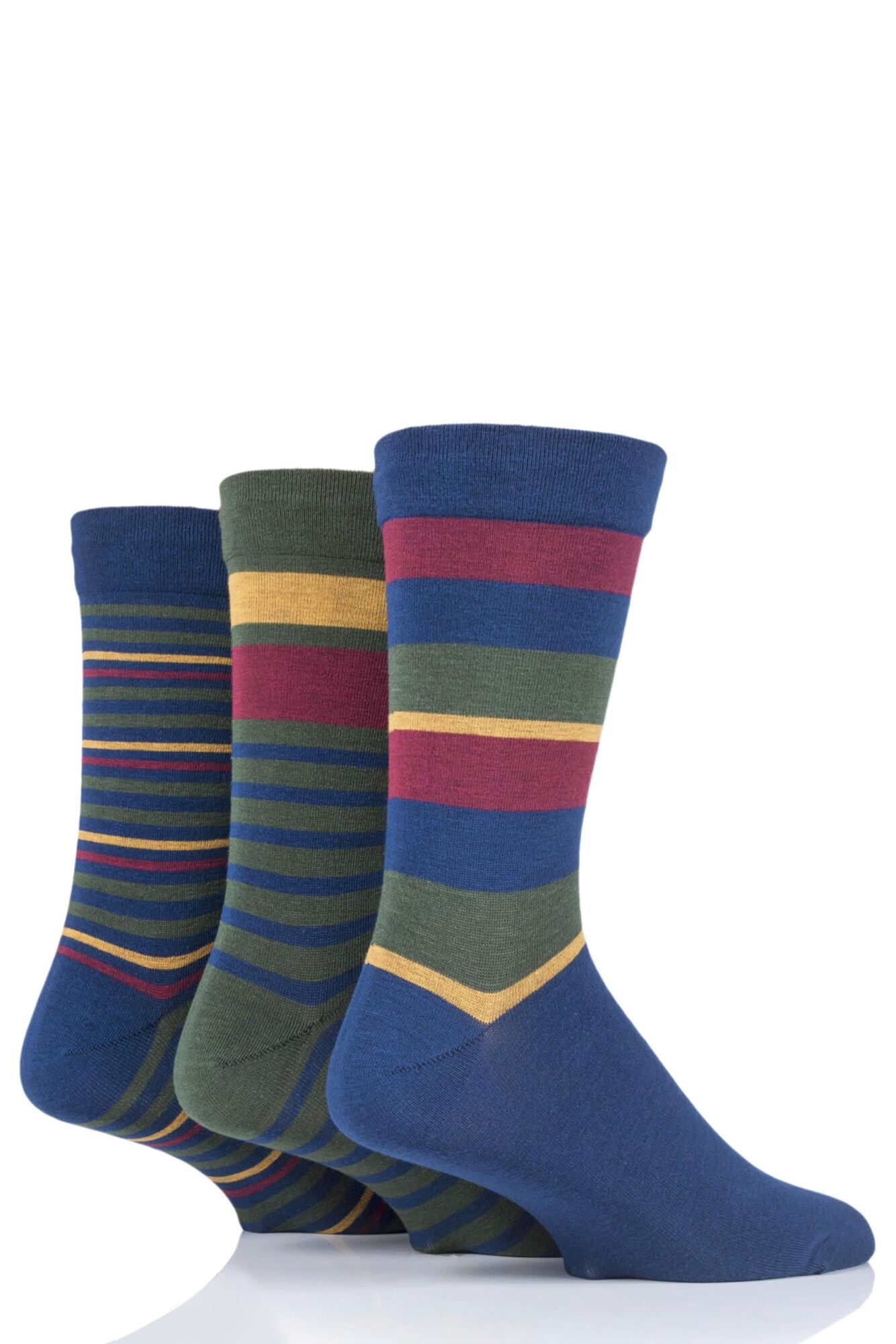 3 Pair Comfort Cuff Gentle Bamboo Striped Socks with Smooth Toe Seams Men's - SOCKSHOP