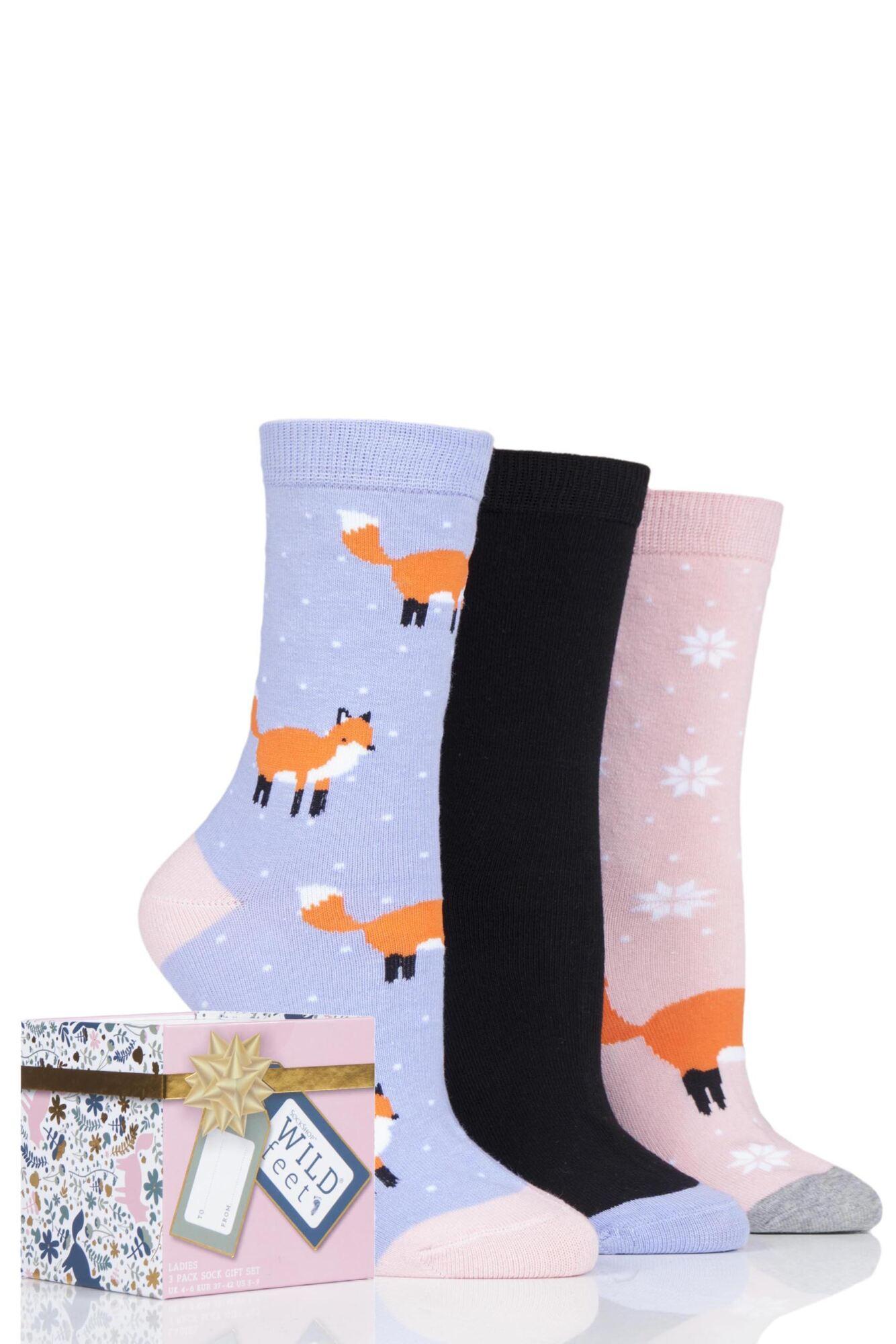 3 Pair Gift Boxed Novelty Cotton Socks Ladies - Wild Feet