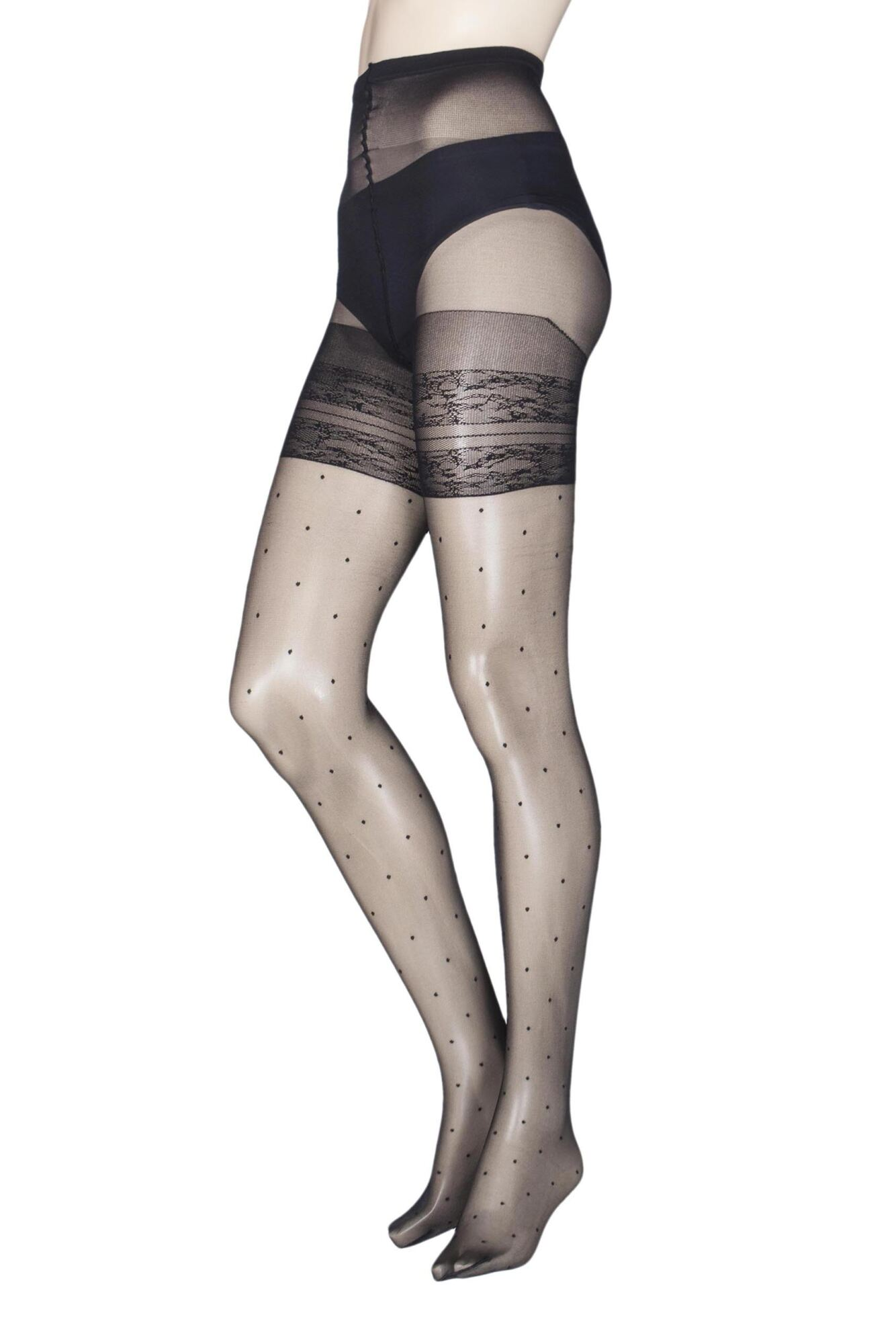 1 Pair Tamarindo Curvy Spotted Tights Ladies - Trasparenze