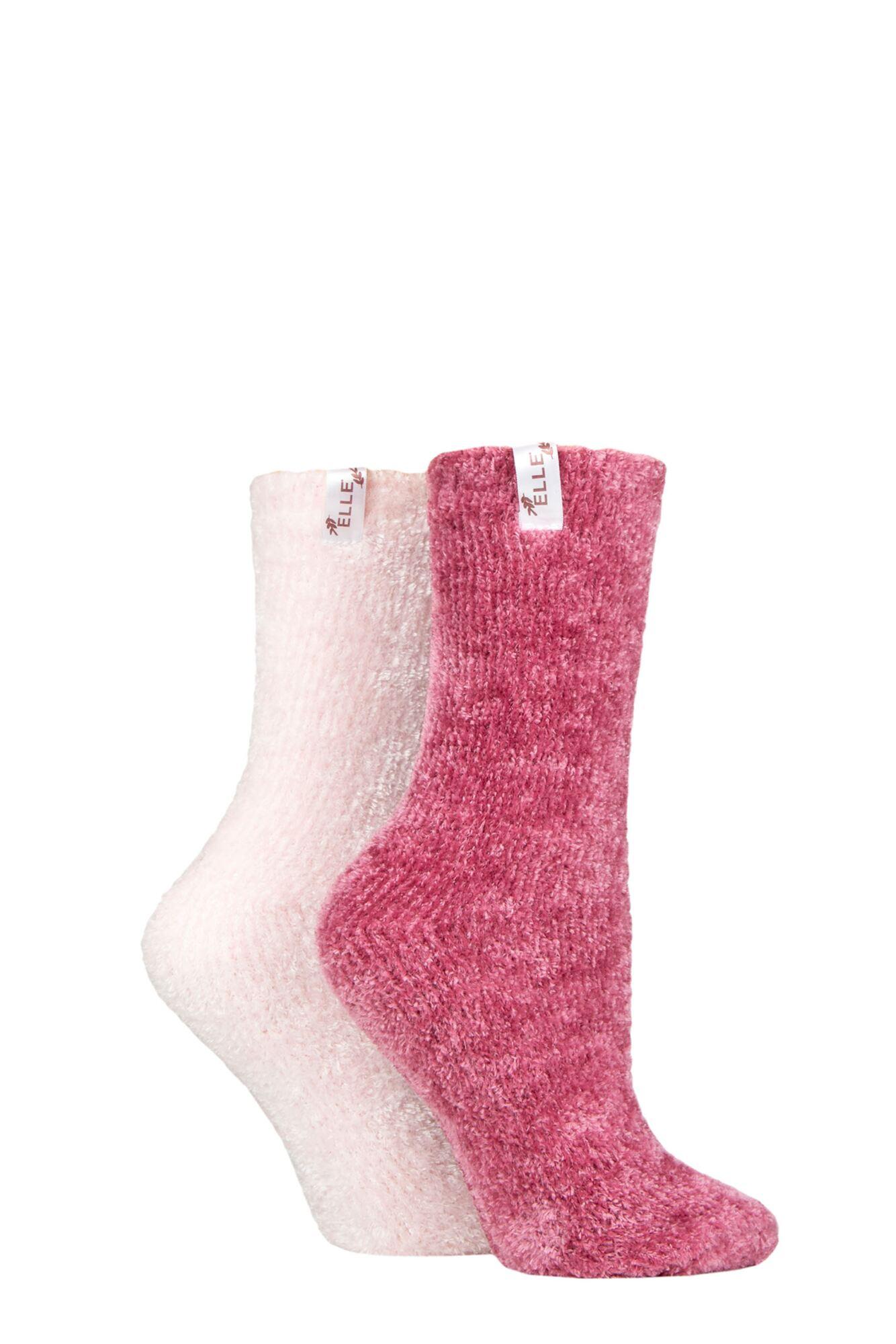 2 Pair Chenille Leisure Socks Ladies - Elle