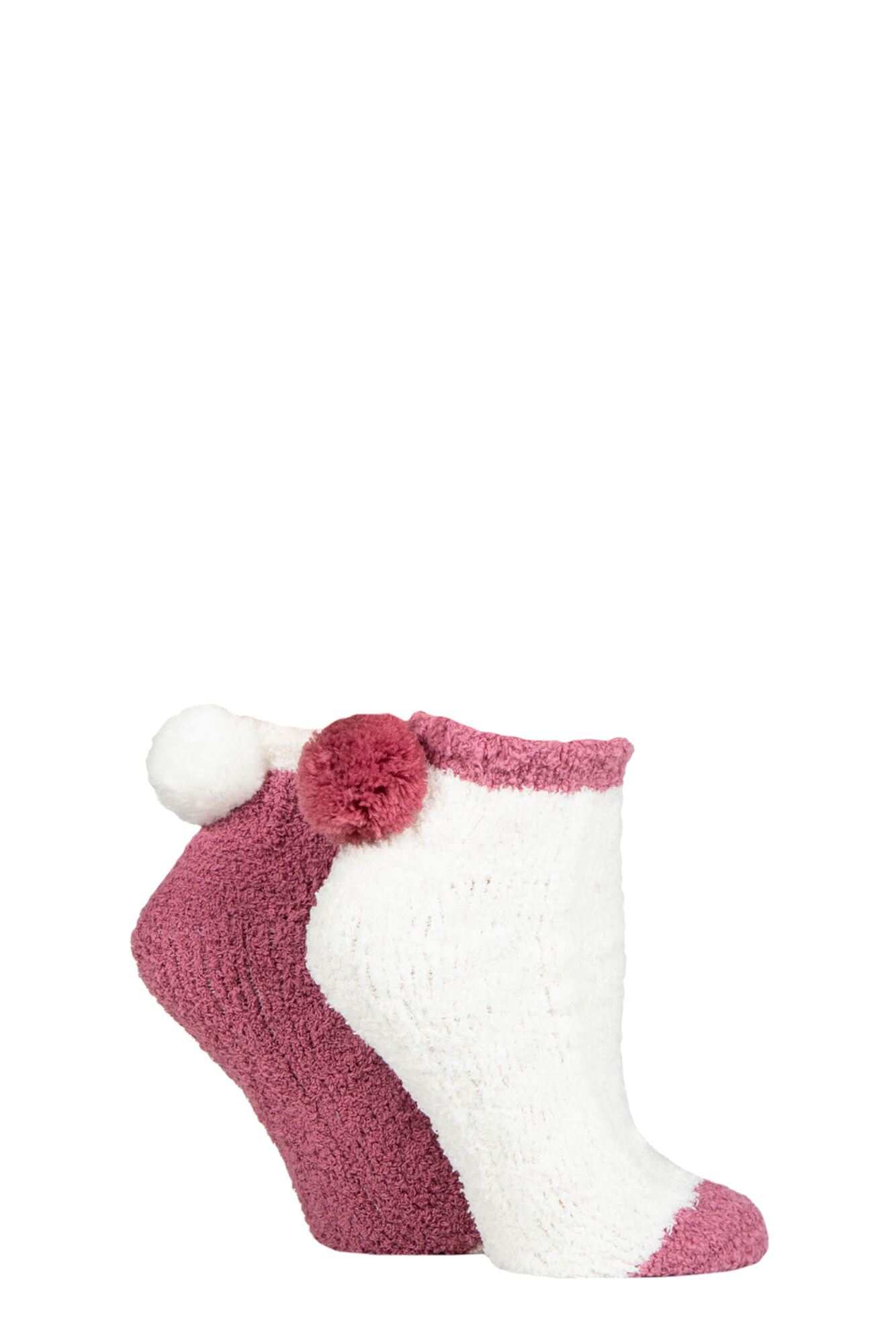 2 Pair Cable Cosy Anklet Socks With Pom Poms Ladies - Elle