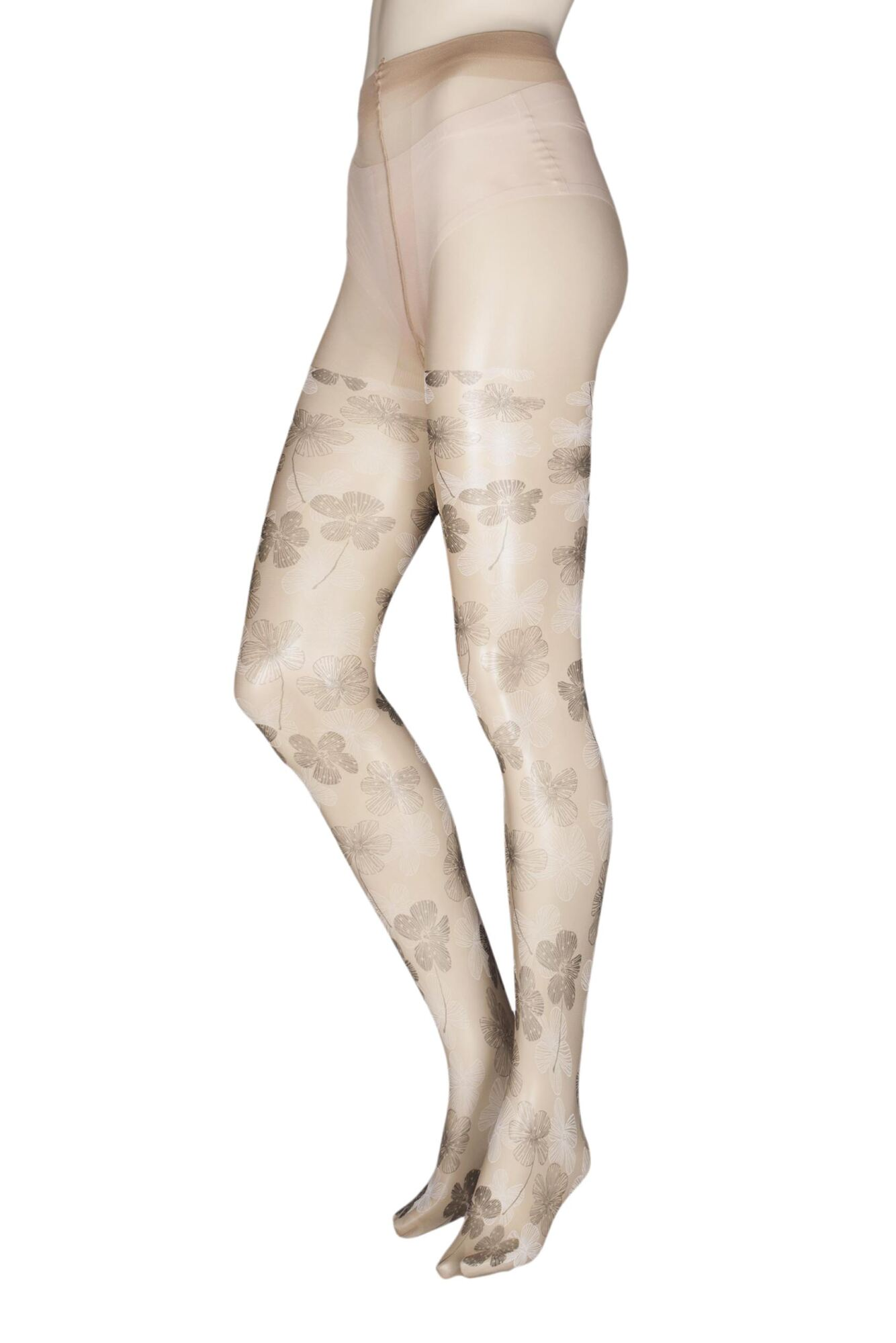 1 Pair Waterlily Flowers Tights Ladies - Trasparenze