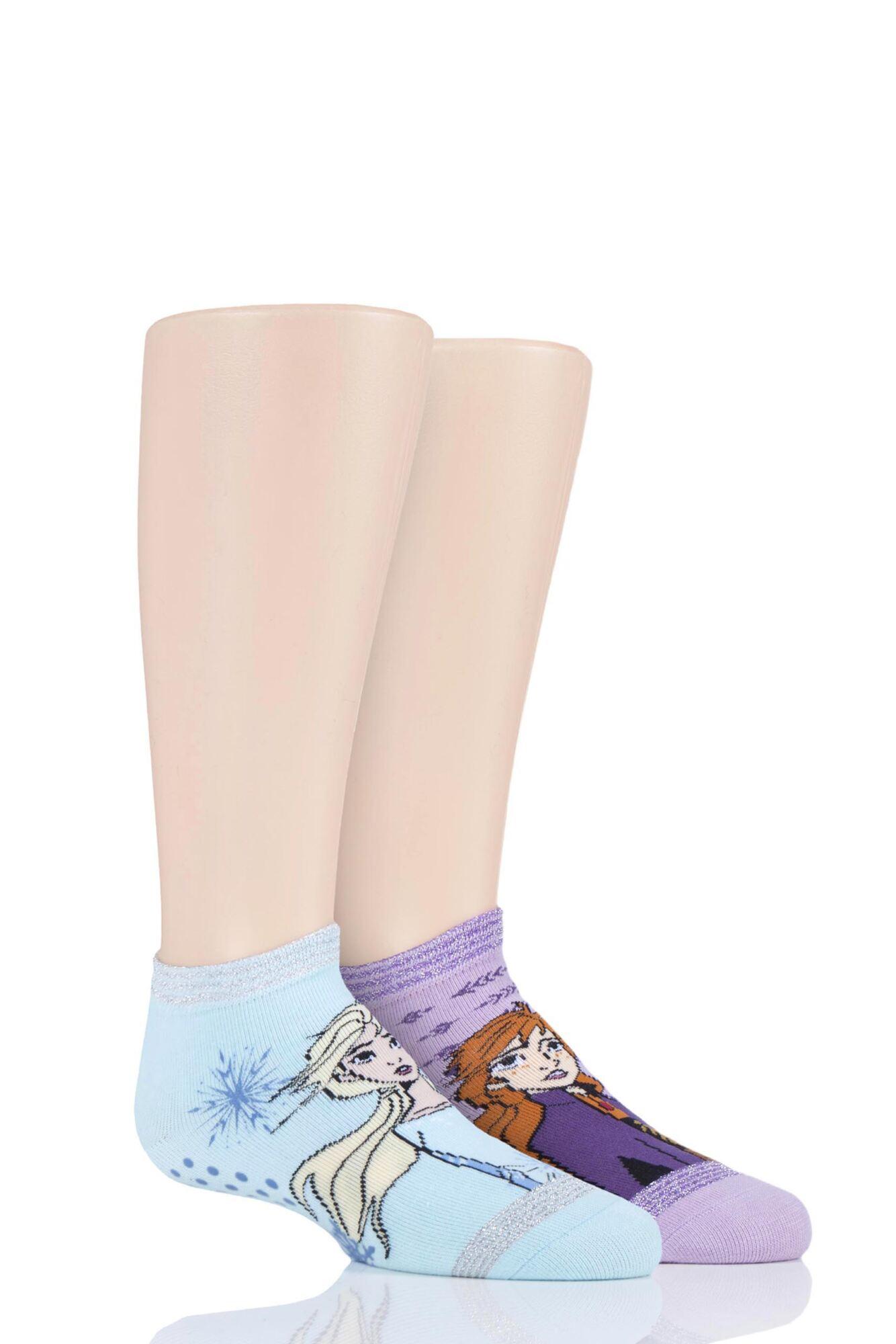 2 Pair with Disney Tiny Soles Frozen Gripper Socks Kids Unisex - Tavi Noir