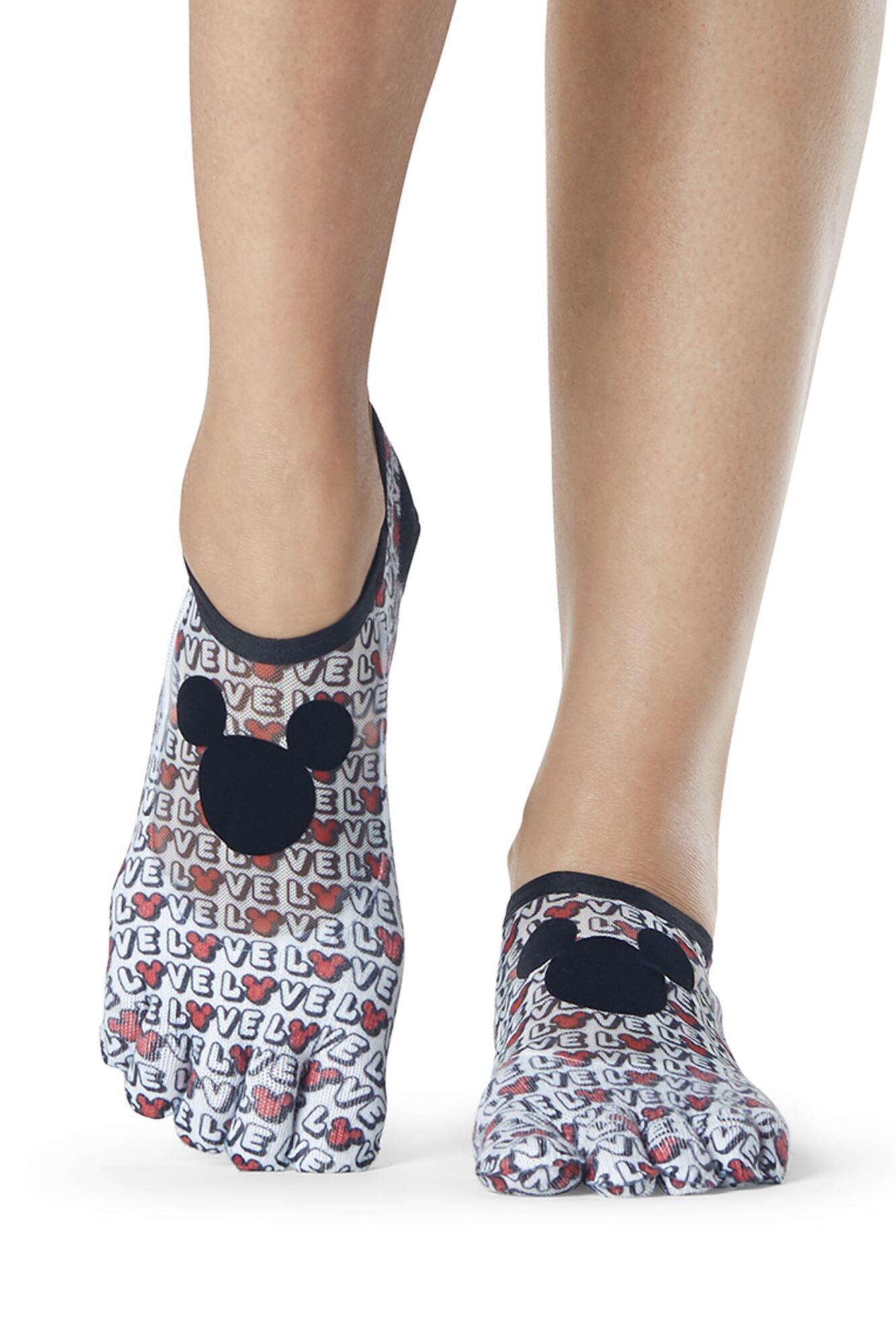 Ladies 1 Pair ToeSox Disney Full Toe Love Mickey Mesh Socks