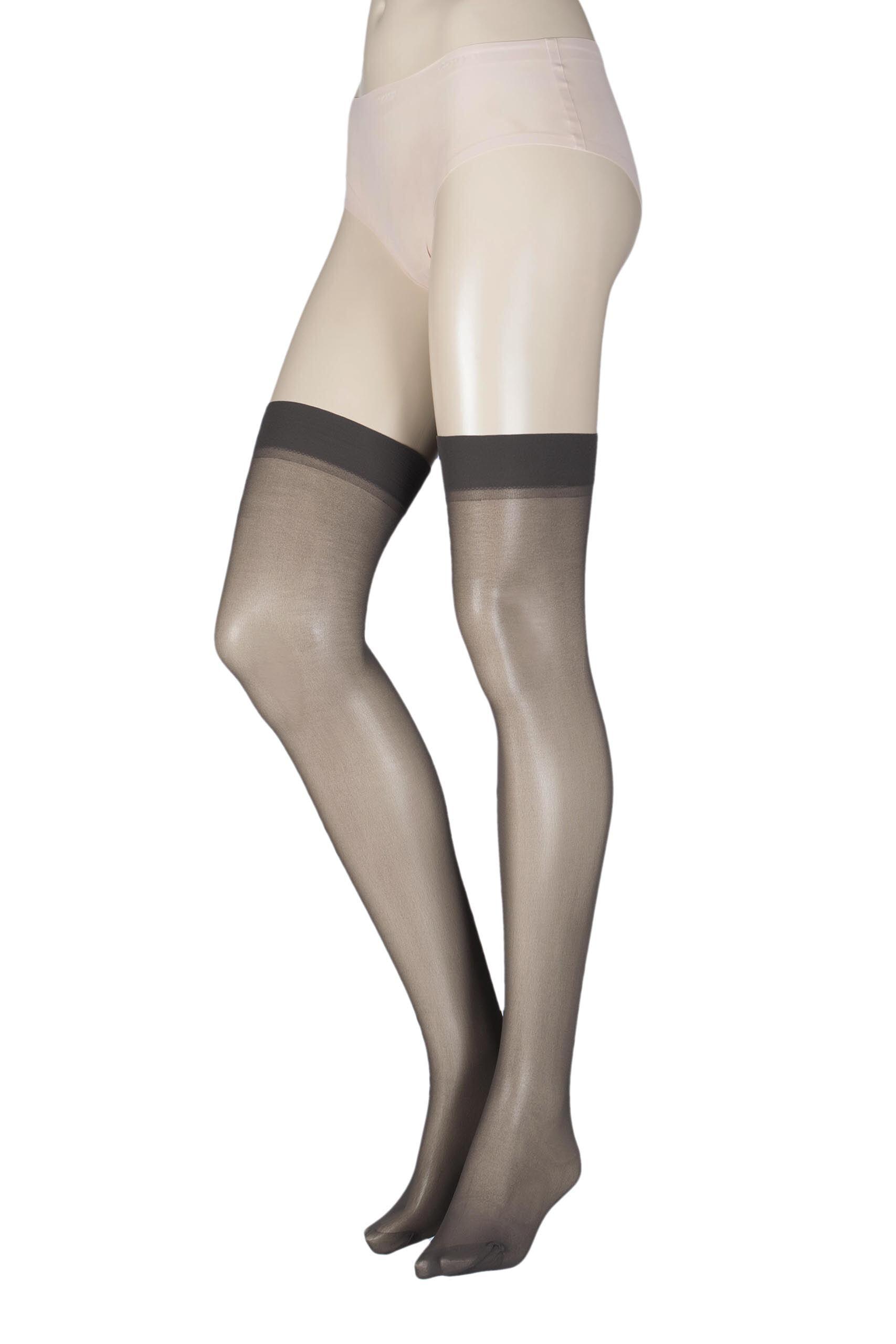 Image of 1 Pair Barely Black Stockings 20 Denier 100% Nylon Ladies One Size - Elle