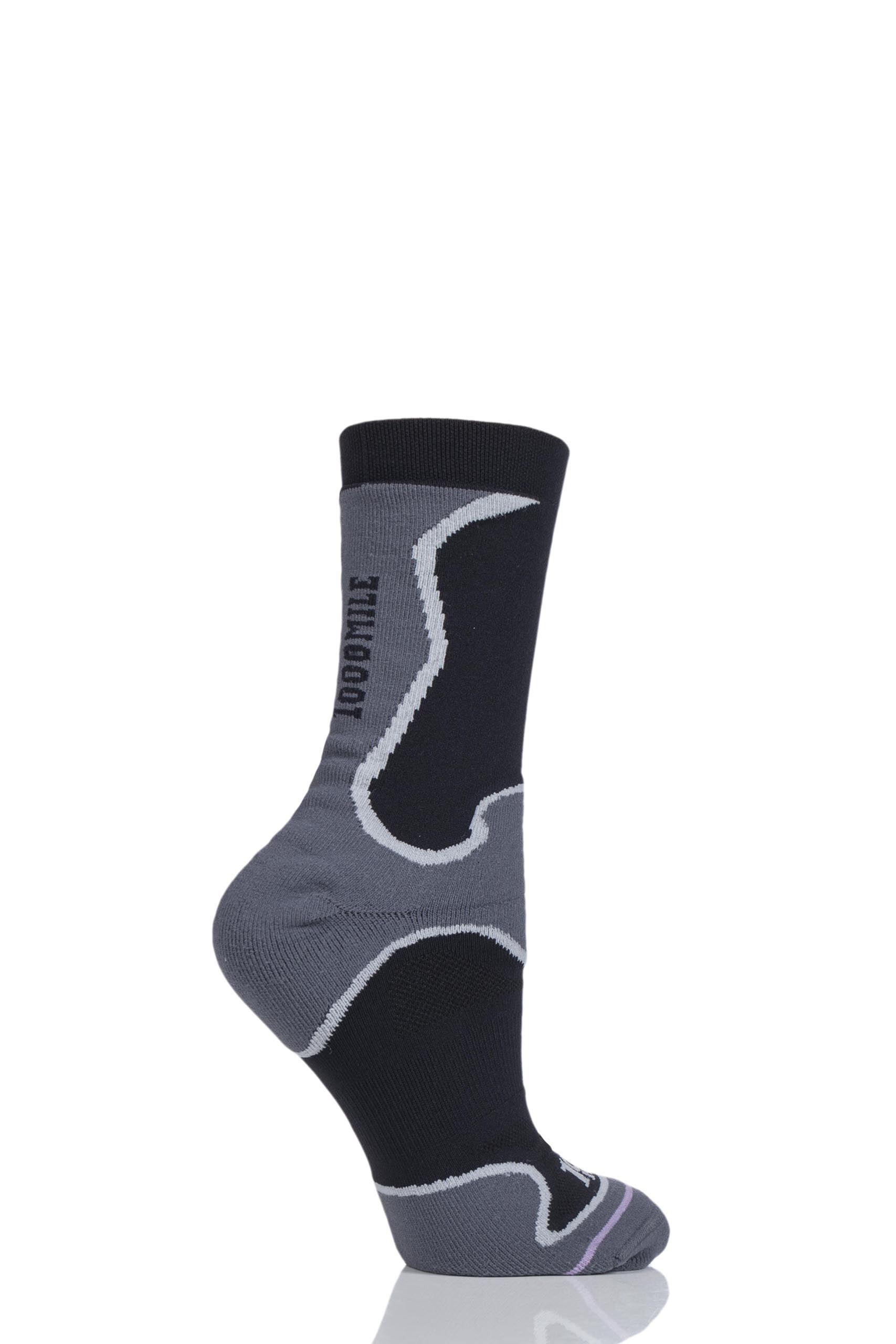Image of 1 Pair Black Athletic Fusion Socks Unisex 6-8.5 Mens - 1000 Mile