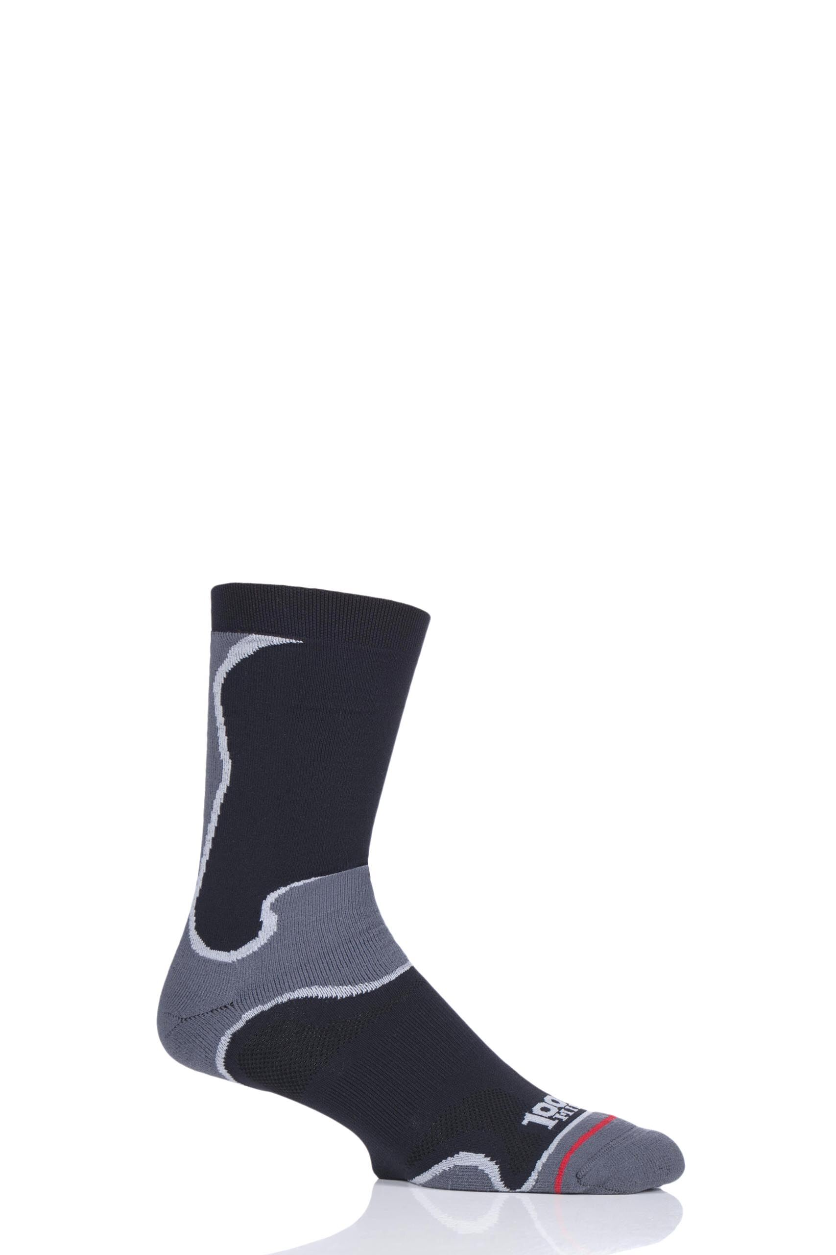 Image of 1 Pair Black Athletic Fusion Socks Unisex 12-14 Mens - 1000 Mile