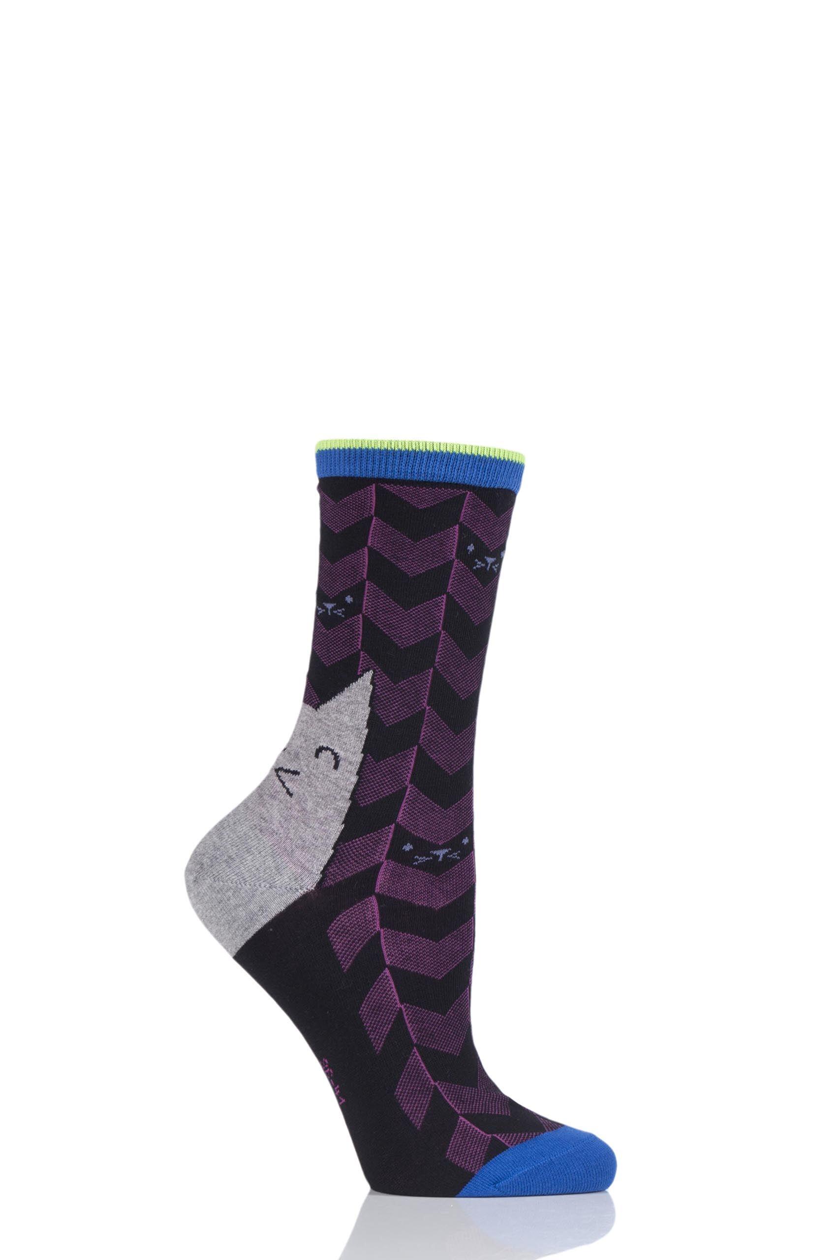 Image of 1 Pair Black Cat Face Cotton Socks Ladies 3.5-7 Ladies - Burlington
