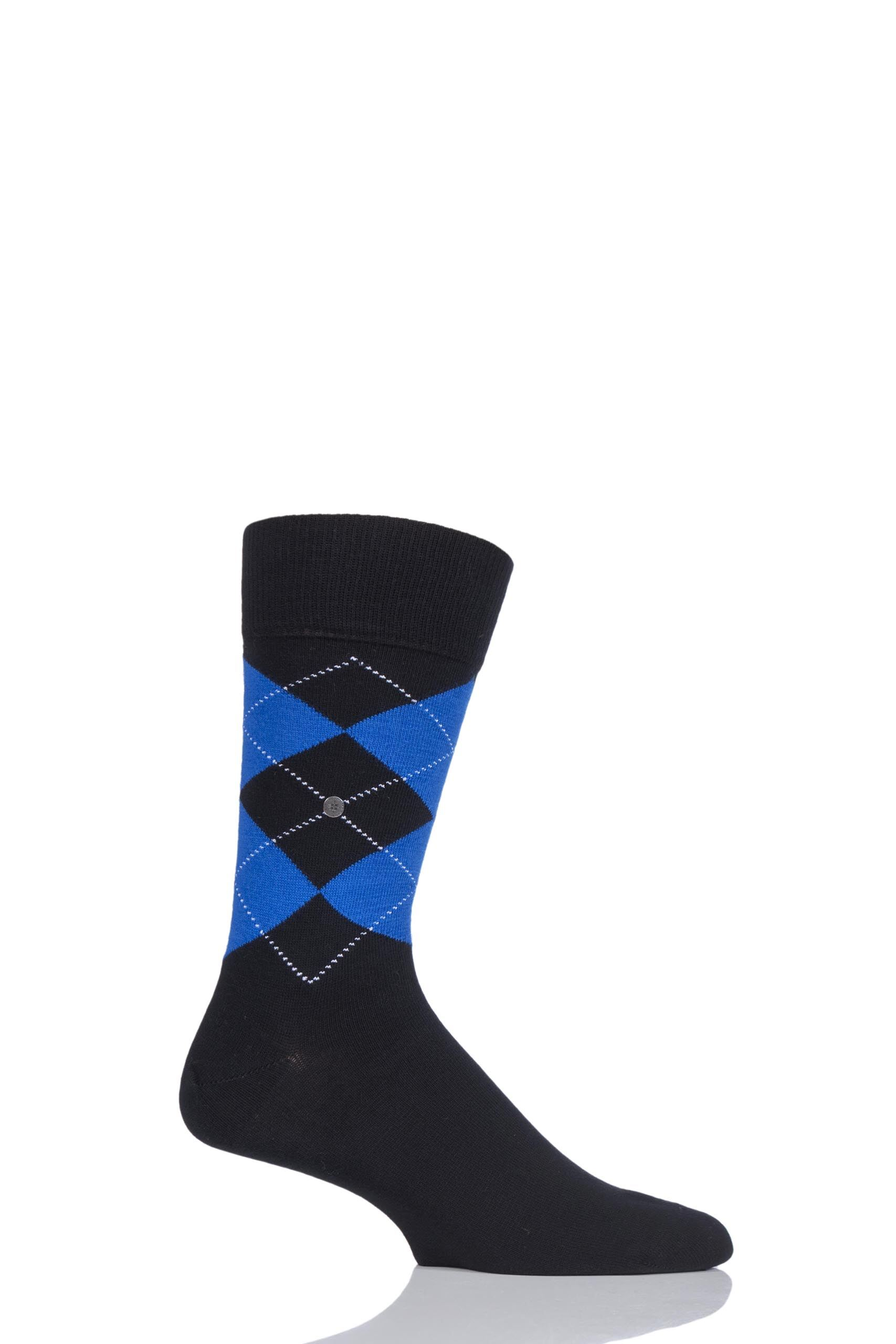 Image of 1 Pair Black / Blue King Argyle Cotton Socks Men's 6.5-11 Mens - Burlington
