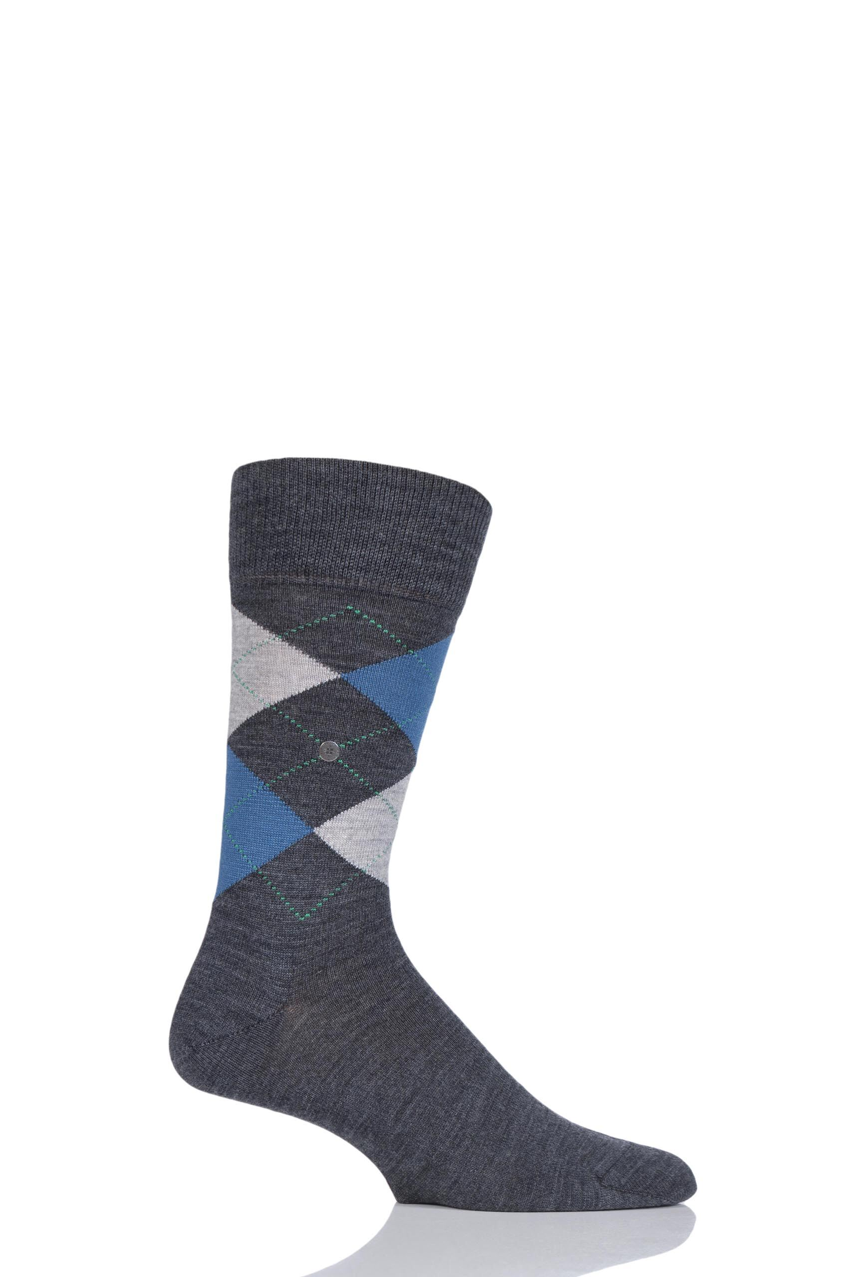 Image of 1 Pair Black / Blue Edinburgh Virgin Wool Argyle Socks Men's 6.5-11 Mens - Burlington
