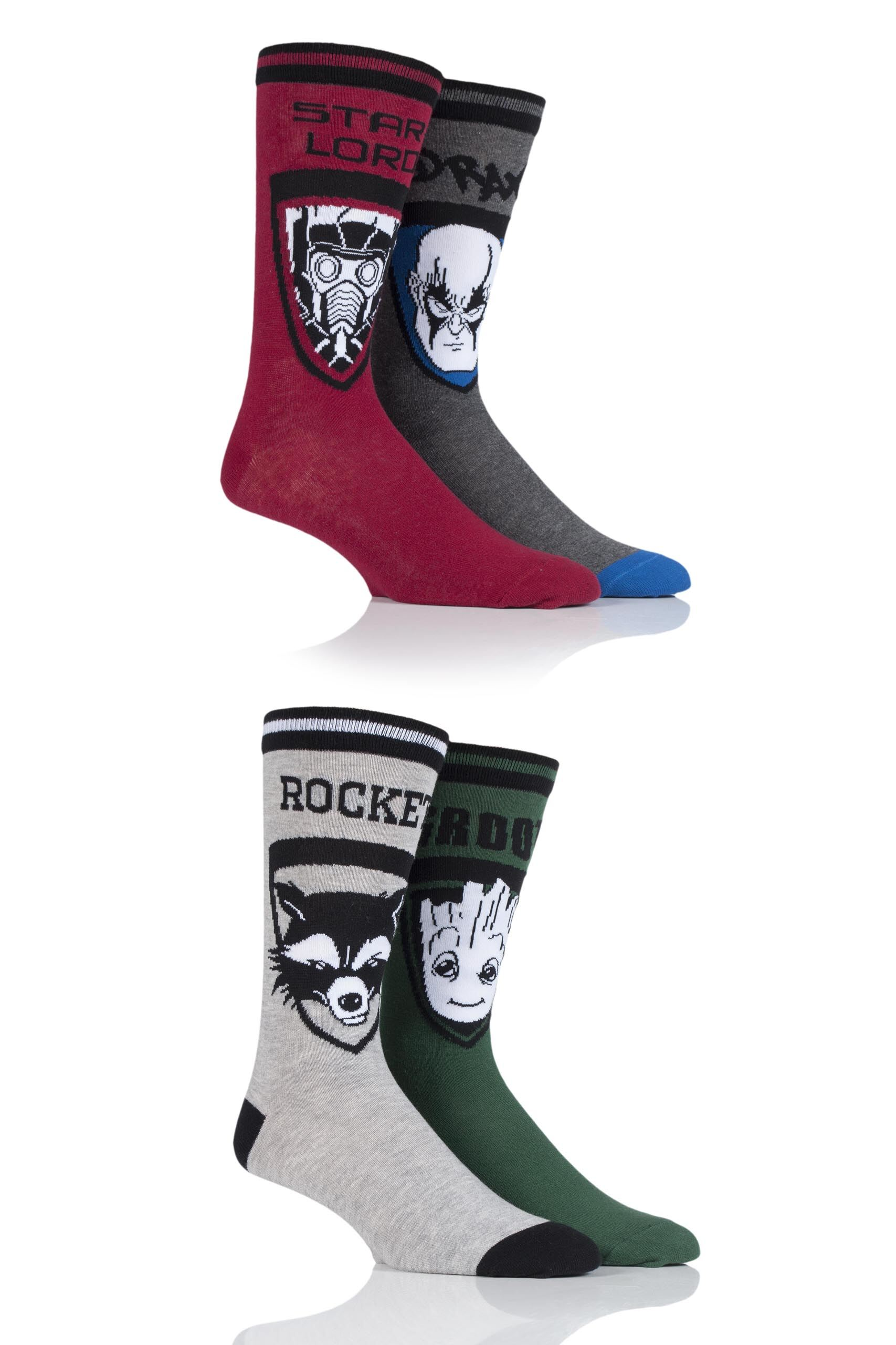 4 Pair Assorted Marvel Guardians of the Galaxy Groot, Rocket, Star-Lord and Drax Cotton Socks Men's 11-13 Mens - Film & TV Characters