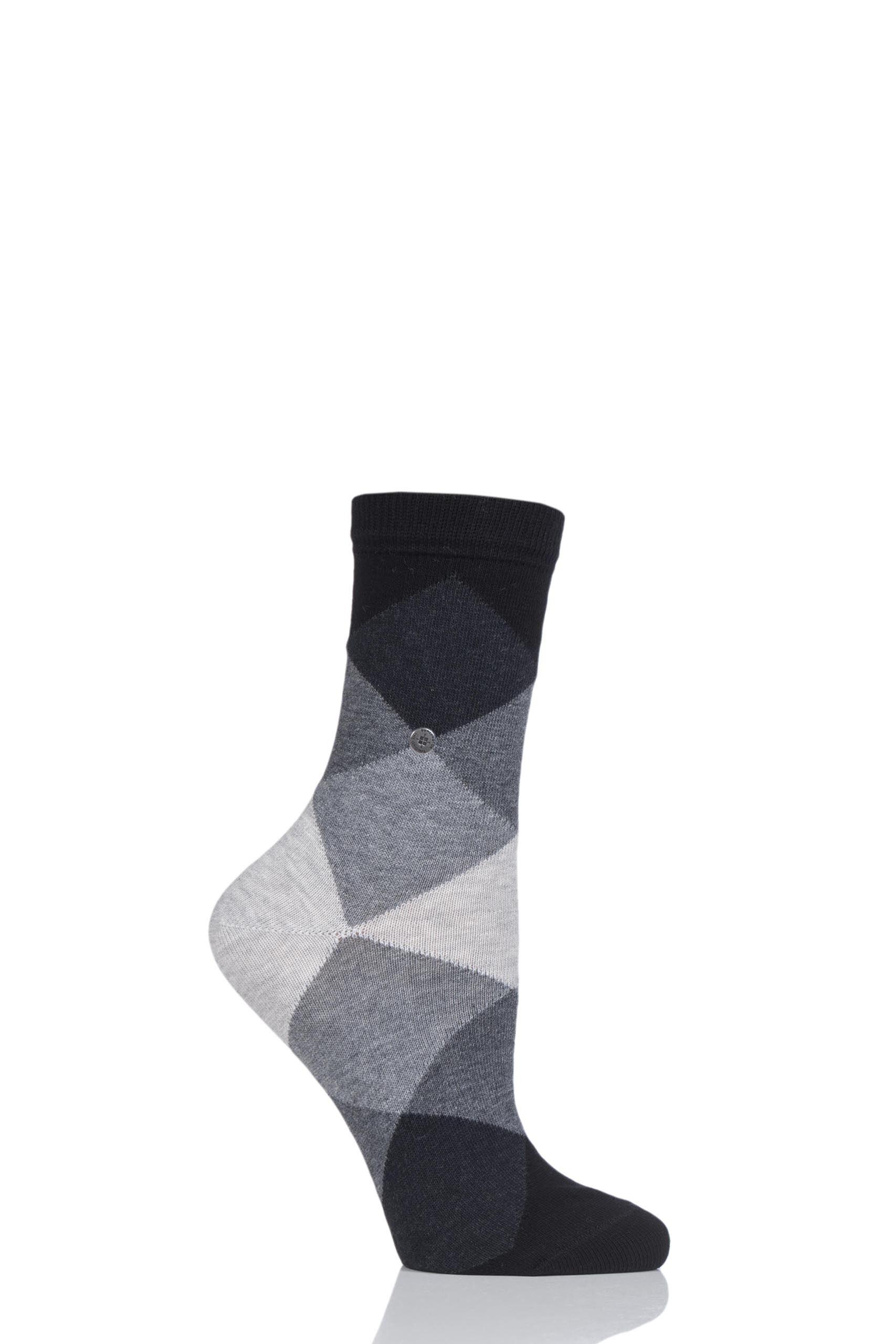 Image of 1 Pair Black Bonnie Cotton All Over Blend Argyle Socks Ladies 2.5-6.5 Ladies - Burlington