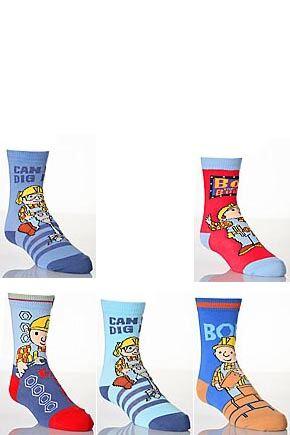 Boys-4-Pair-TM-Bob-The-Builder-Socks-Assorted