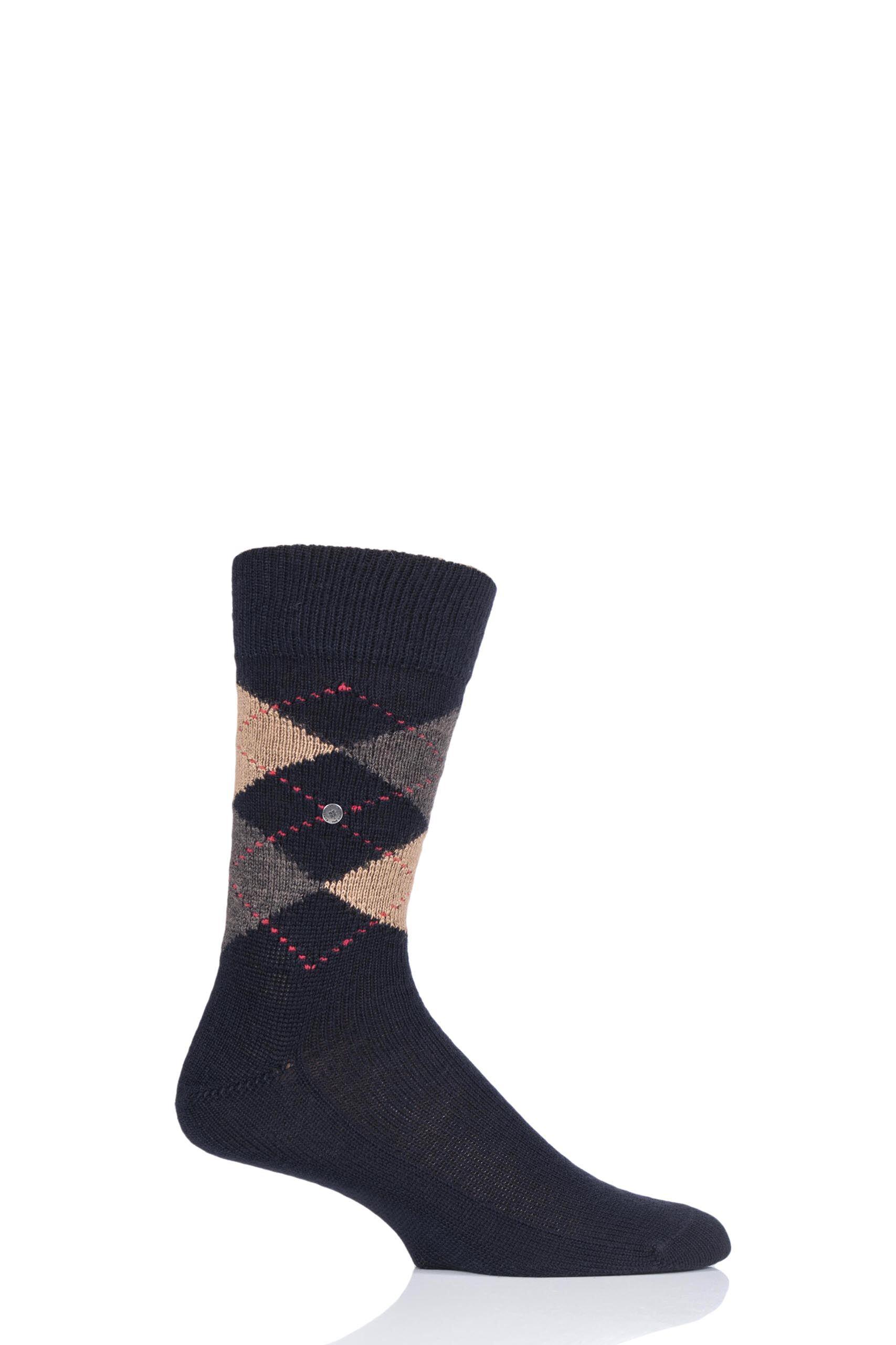 Image of 1 Pair Black / Brown Preston Extra Soft Feeling Argyle Socks Men's 11-14 Mens - Burlington