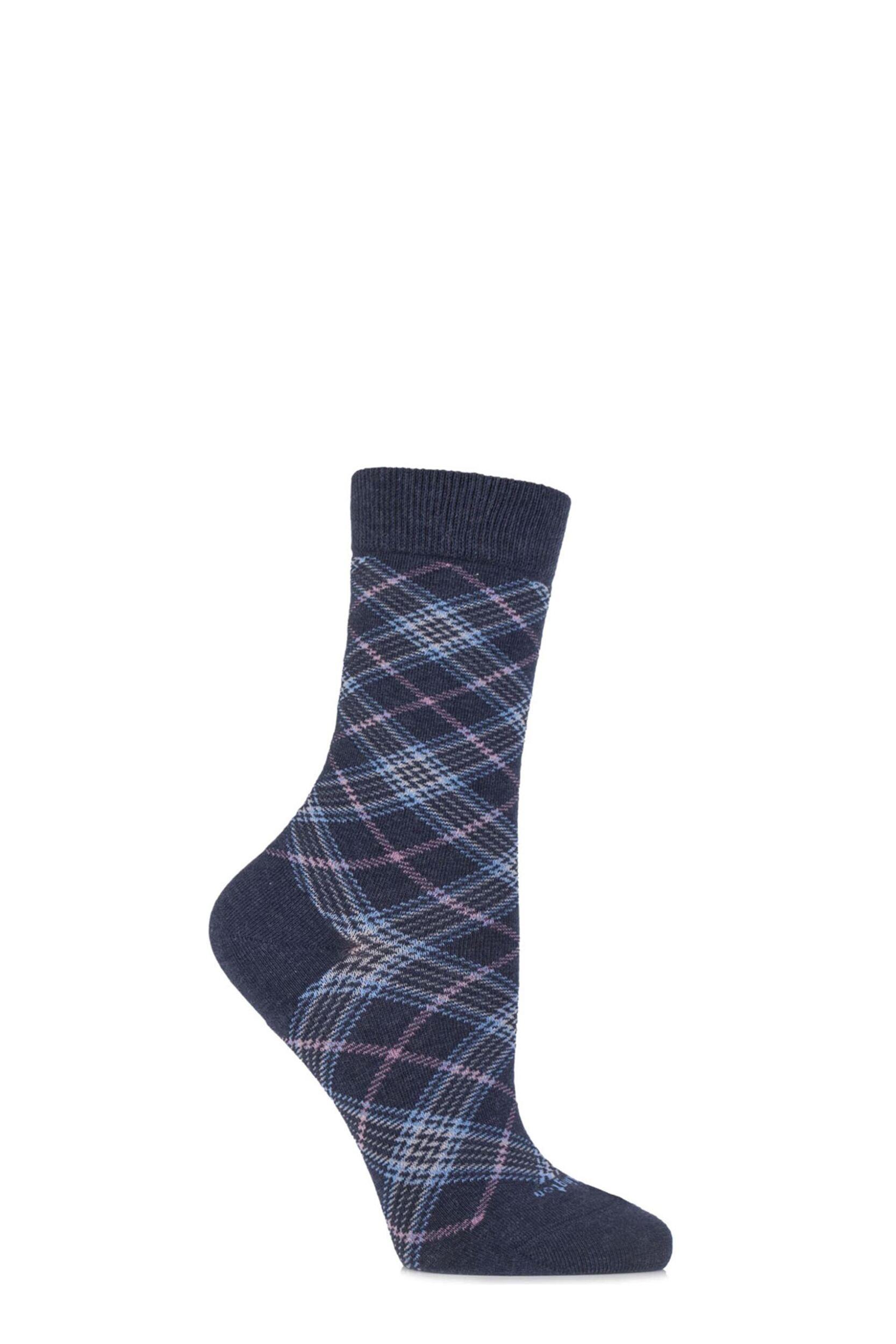 Ladies-1-Pair-Burlington-Shoreditch-Cotton-Tartan-Socks